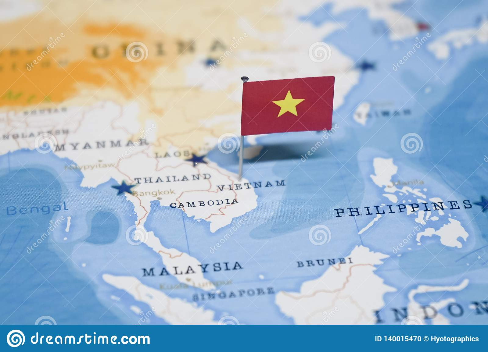 The Flag Of Vietnam In The World Map Stock Photo - Image of planet ...