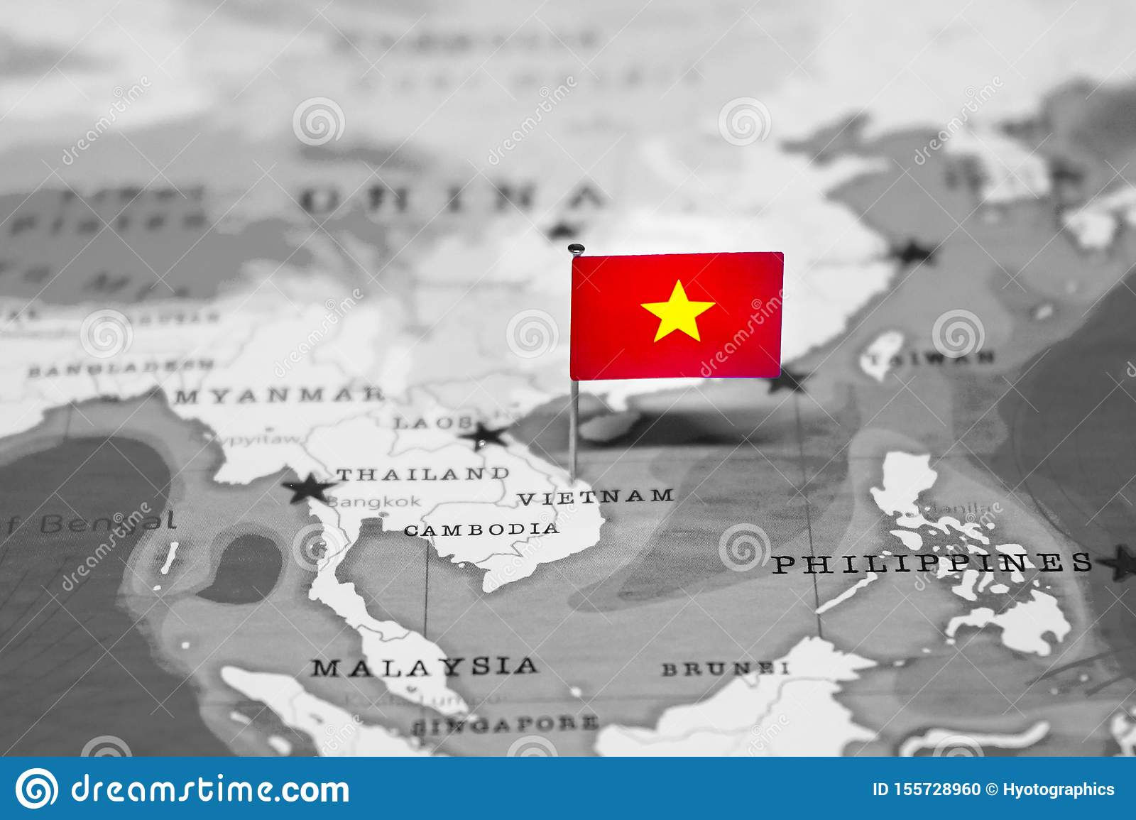 The Flag Of Vietnam In The World Map Stock Photo Image Of Countries Country 155728960