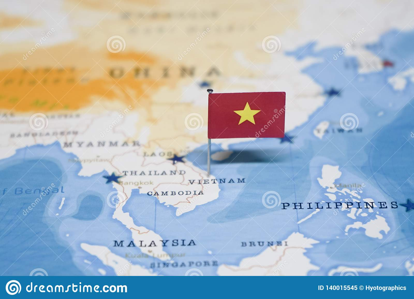 The Flag Of Vietnam In The World Map Stock Image - Image of ...