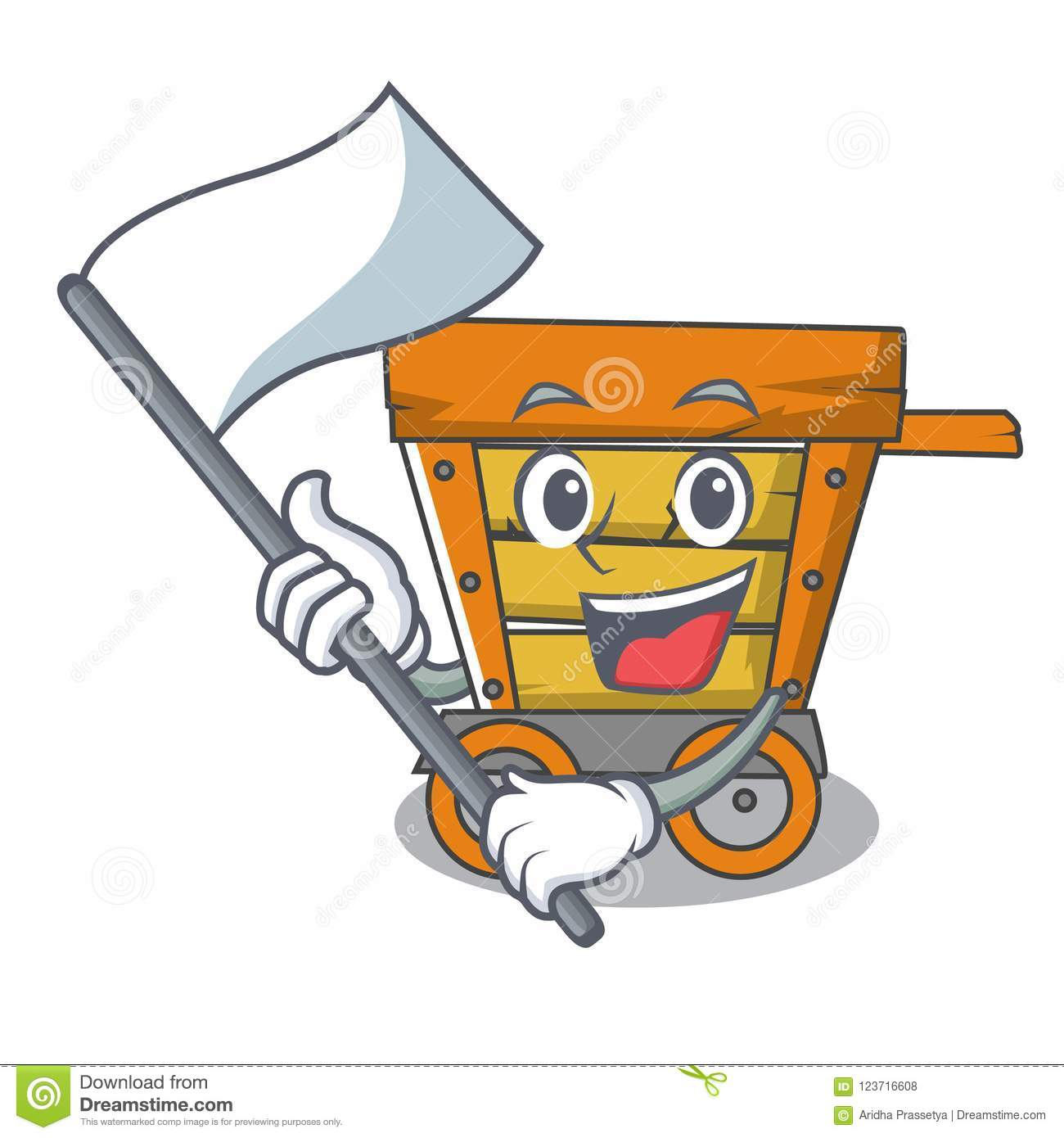 With flag wooden trolley mascot cartoon