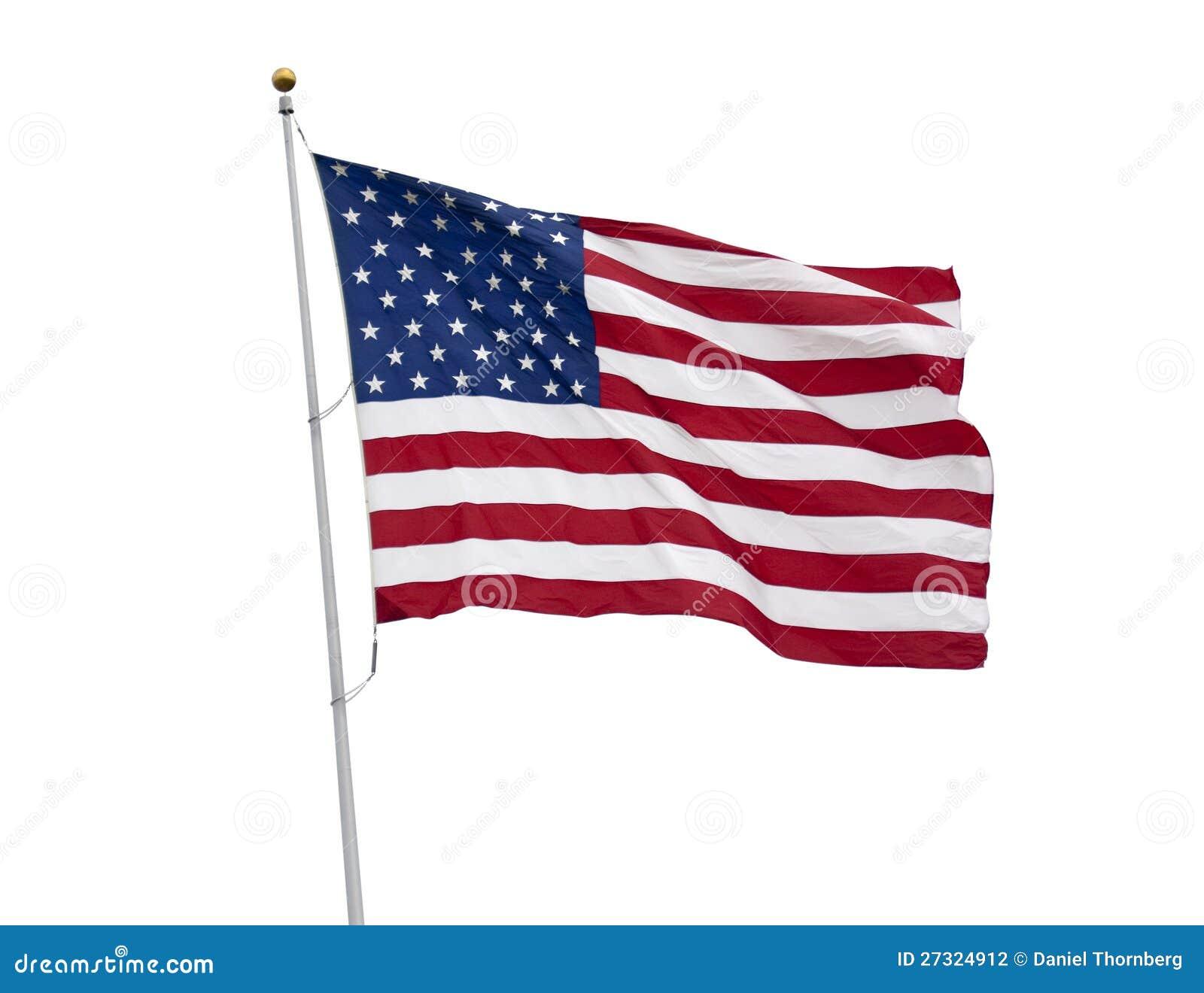 Flaga amerykańska odizolowywająca na biel z ścinku ścieżką