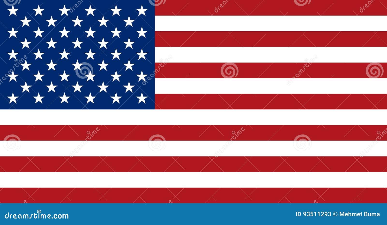 Flaga amerykańska, płaski układ, wektorowa ilustracja