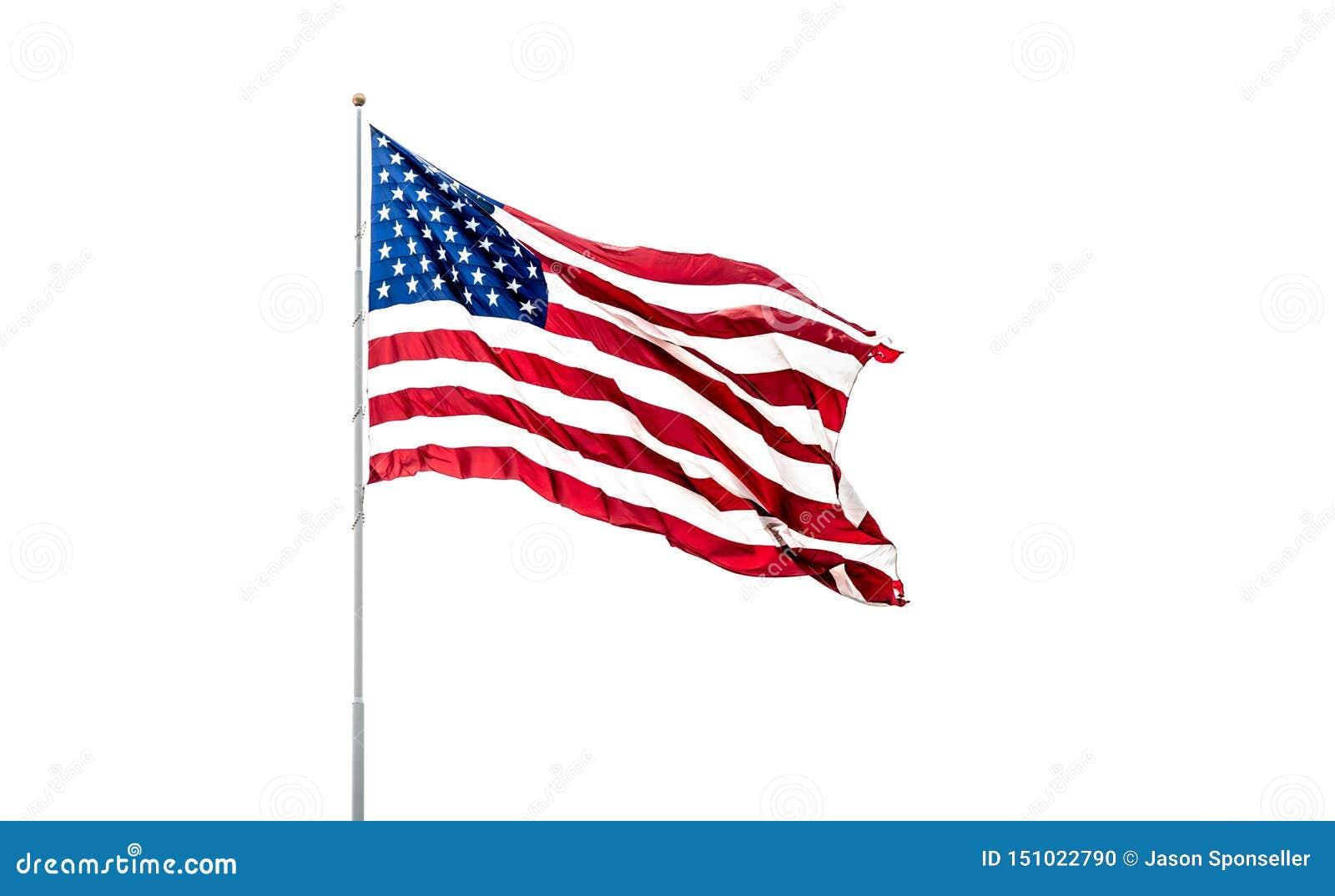 Flaga Amerykańska Z Jaskrawymi Czerwonymi Białych I błękita kolorami Na Białym tle