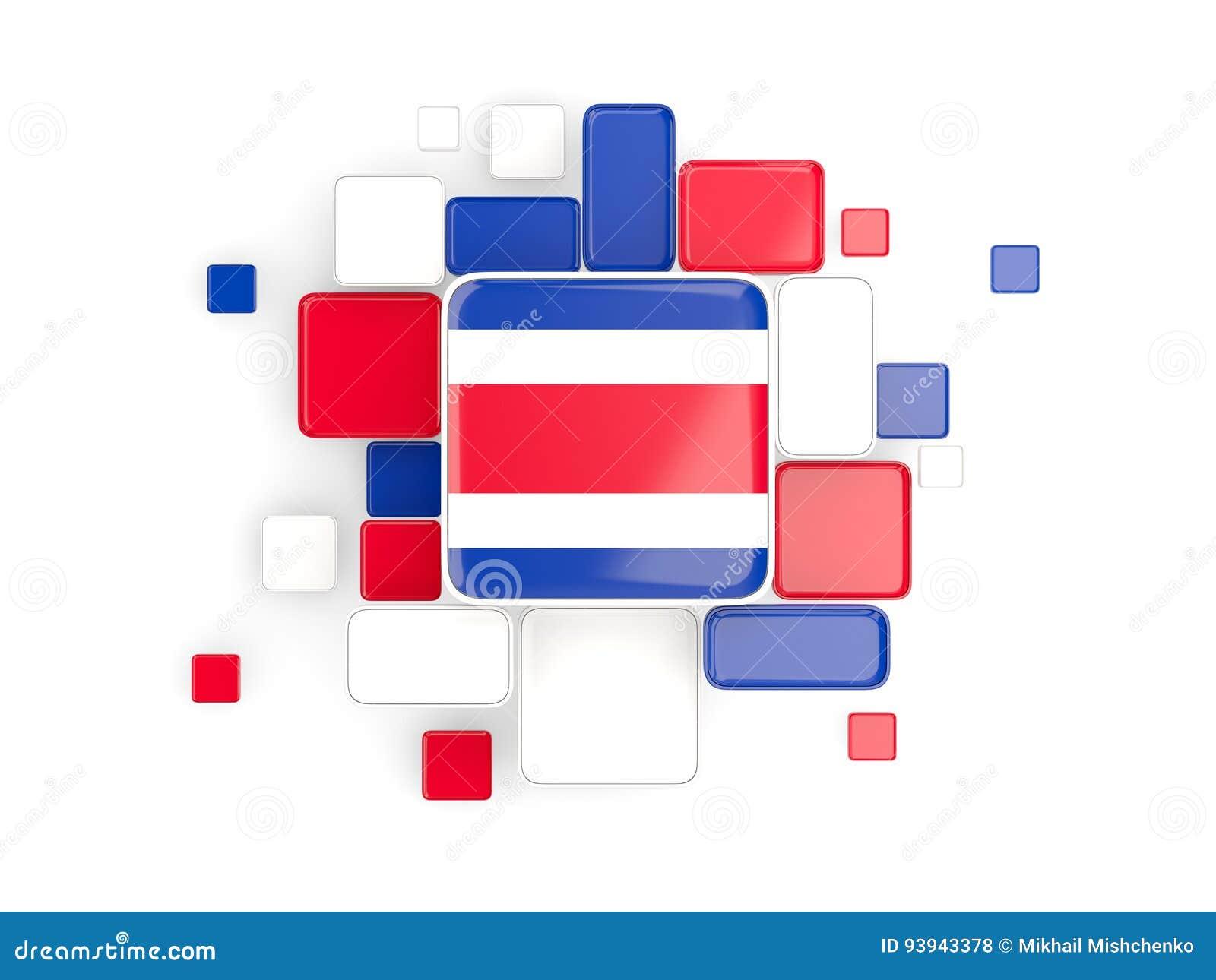 Flaga costa rica, mozaiki tło