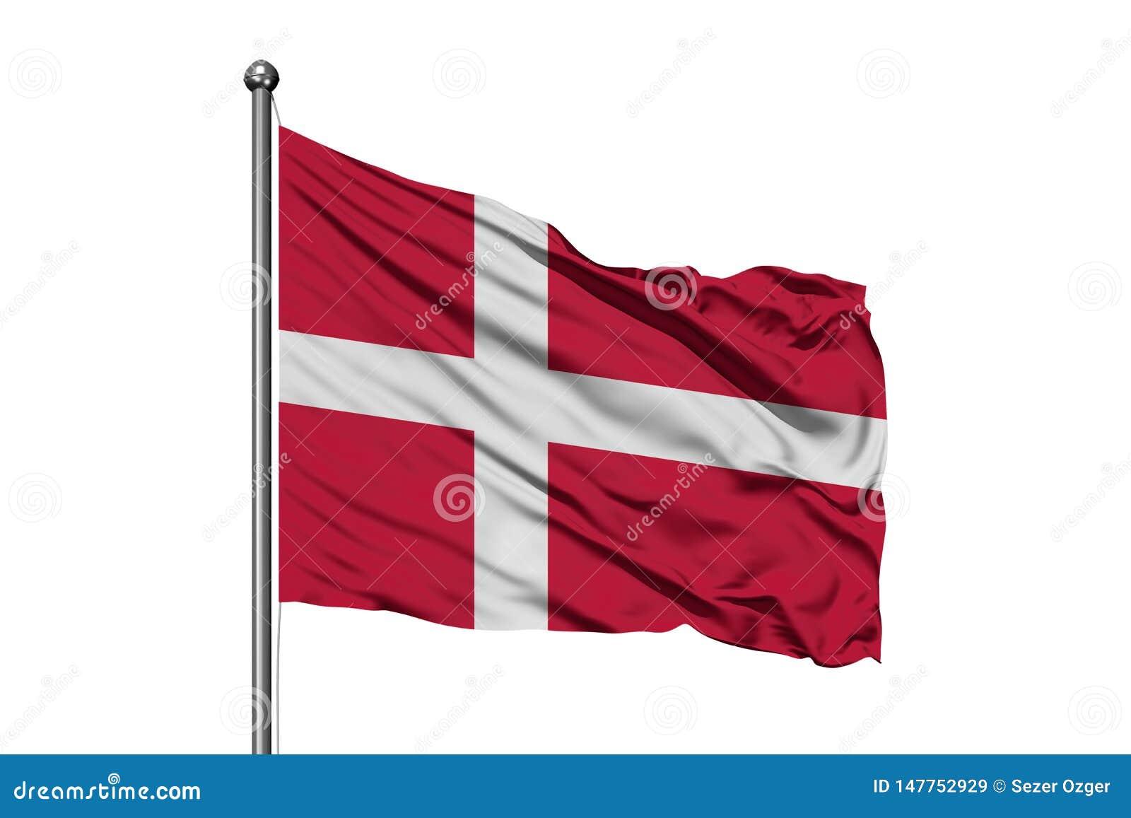Flaga Dani falowanie w wiatrze, odosobniony biały tło du?ska flag?