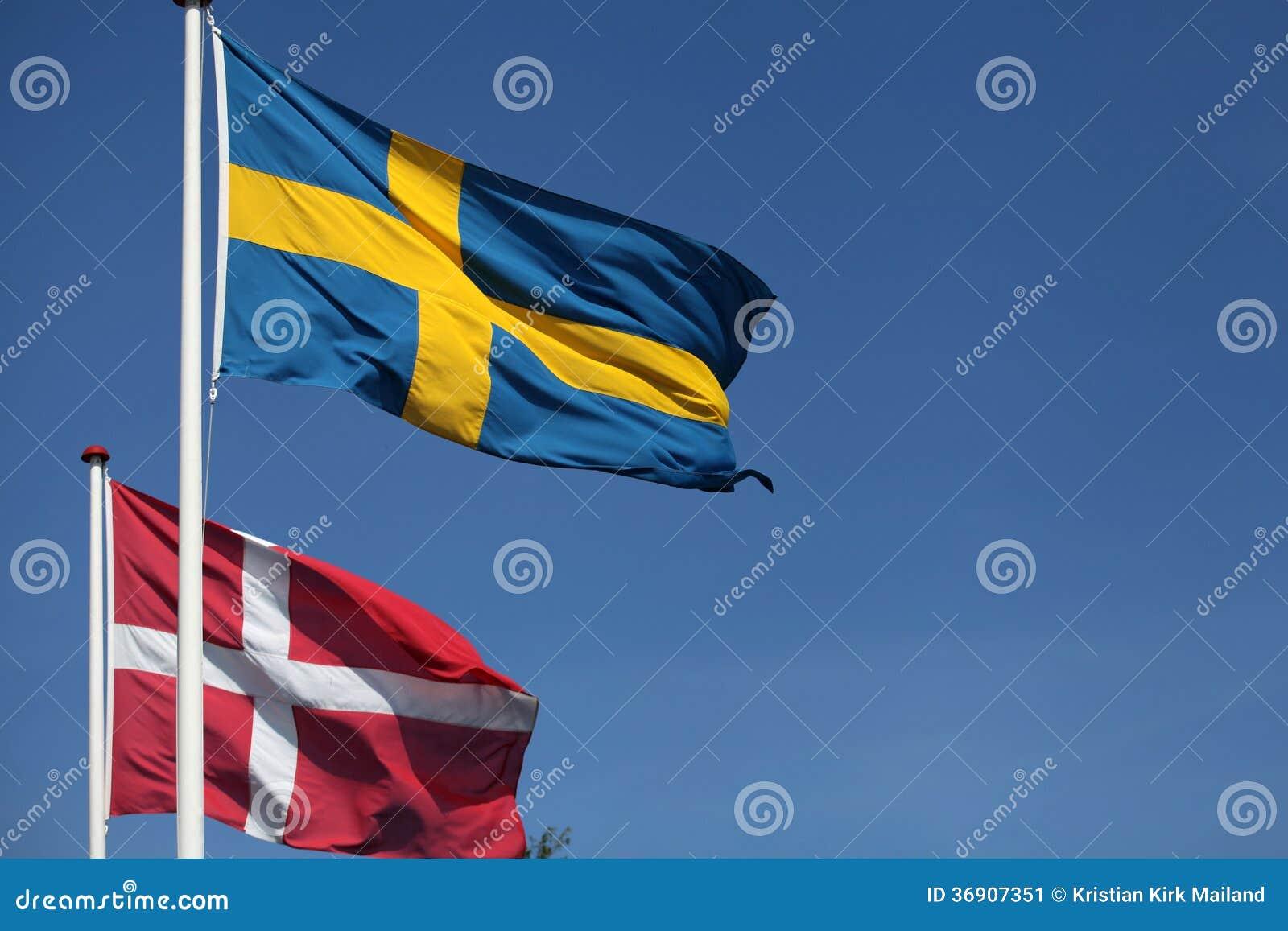 Flaga. Dani i Szwecja