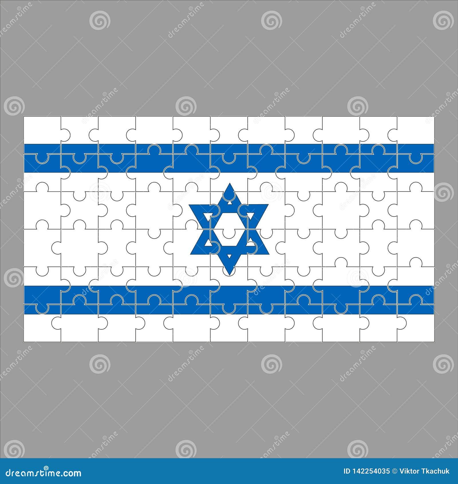 Flaga Izrael od łamigłówek na szarym tle