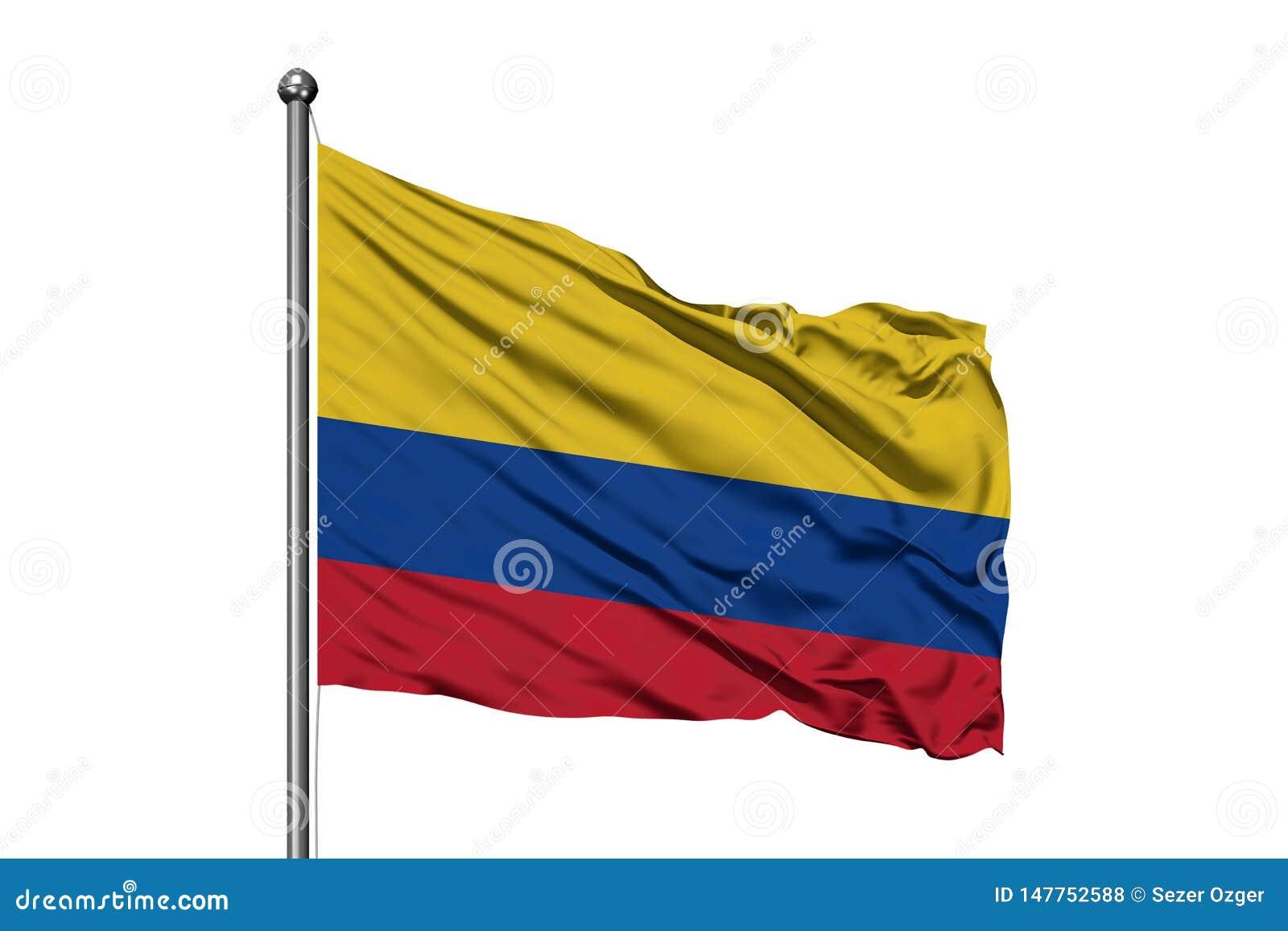 Flaga Kolumbia falowanie w wiatrze, odosobniony biały tło kolumbijska flag?