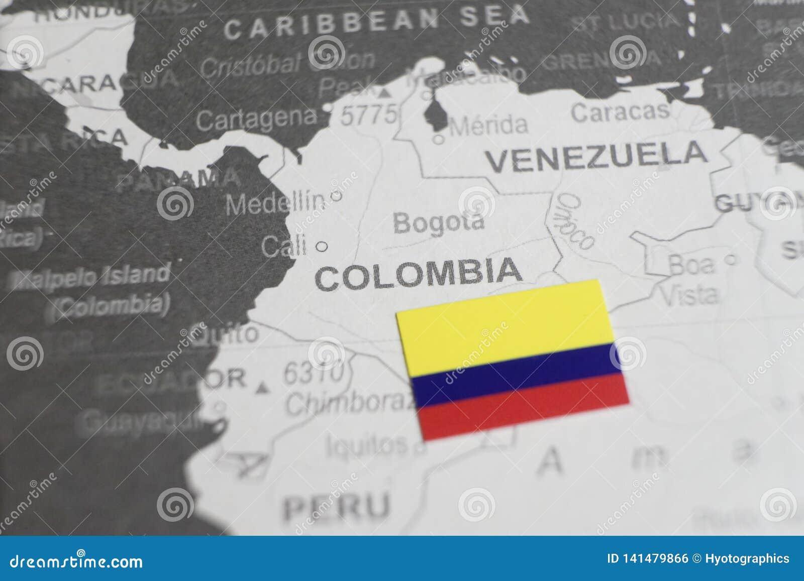 Flaga Kolumbia umieszczał na Kolumbia mapie światowa mapa