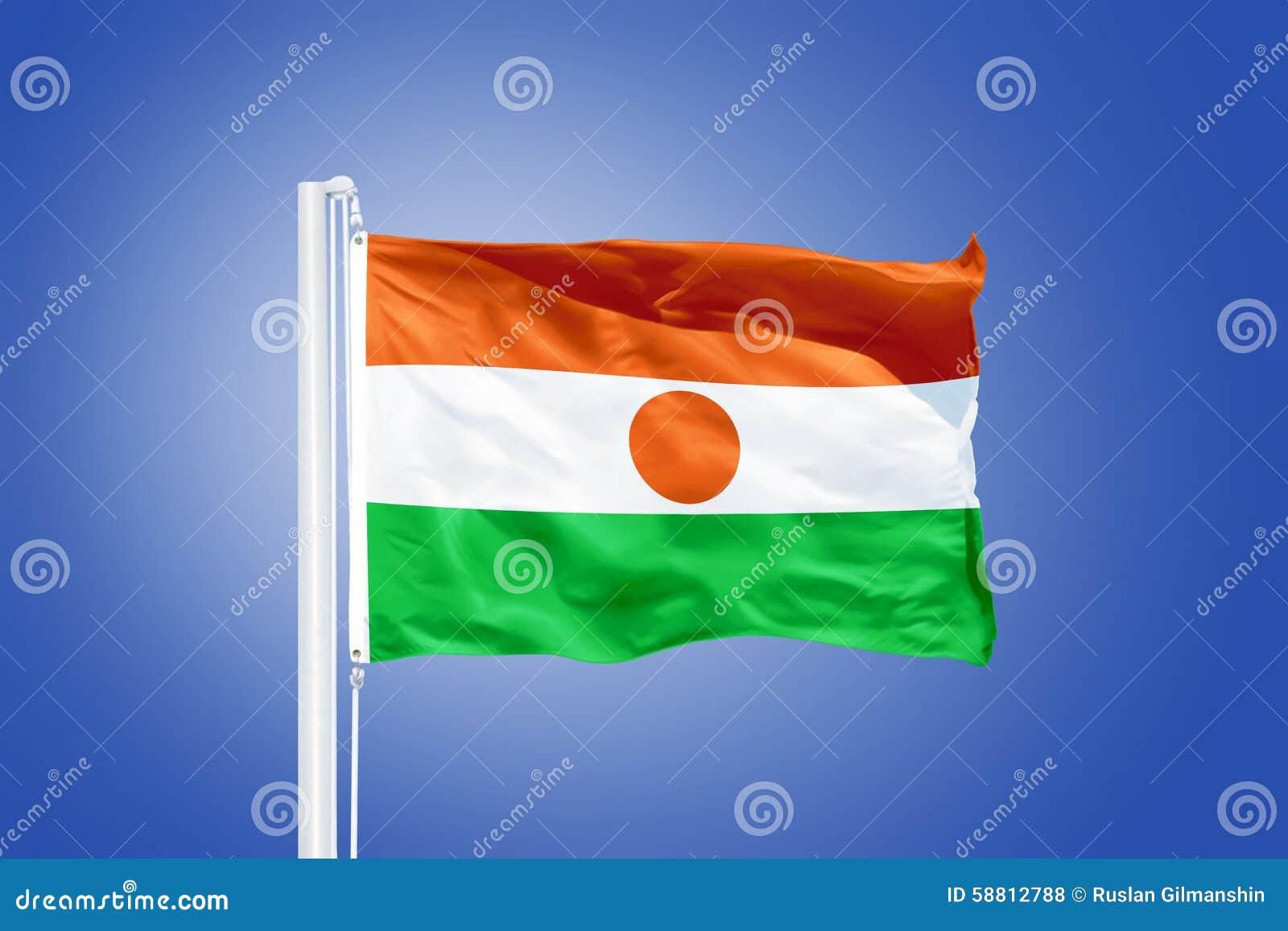 Flaga Niger latanie przeciw niebieskiemu niebu