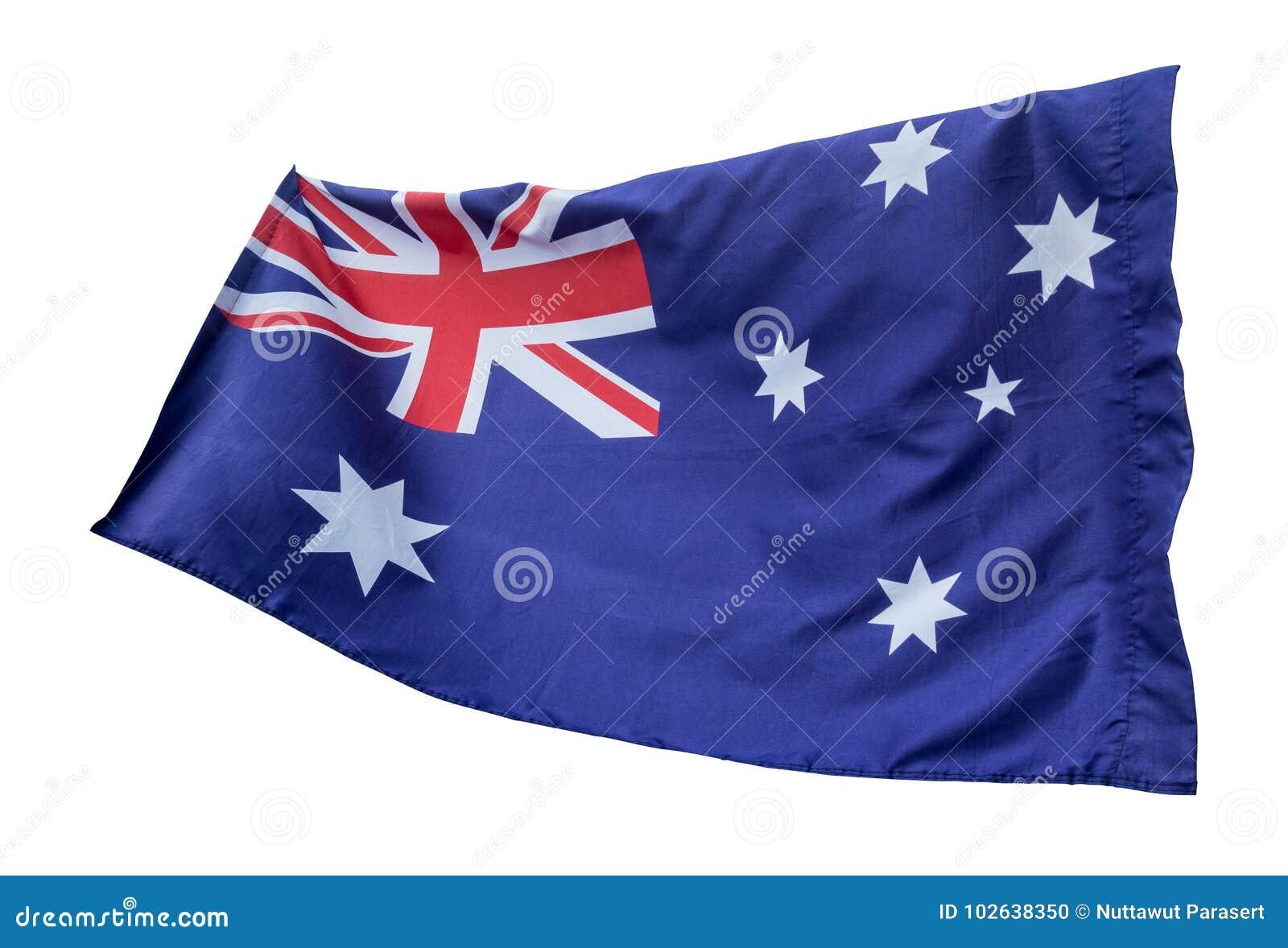 Flaga odizolowywająca z chodzenie fala na flaga Australia obywatel