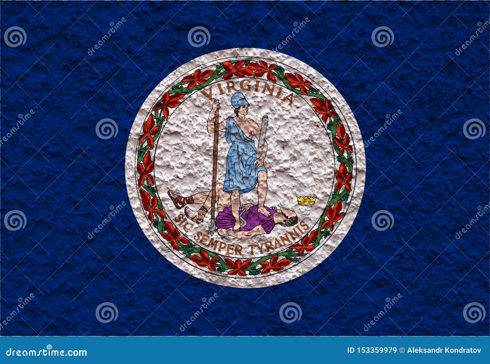 Flaga państowowa stan usa Virginia wewnątrz przeciw szarej ścianie z kamienistą powierzchnią w dzień niezależności w kolorach błę