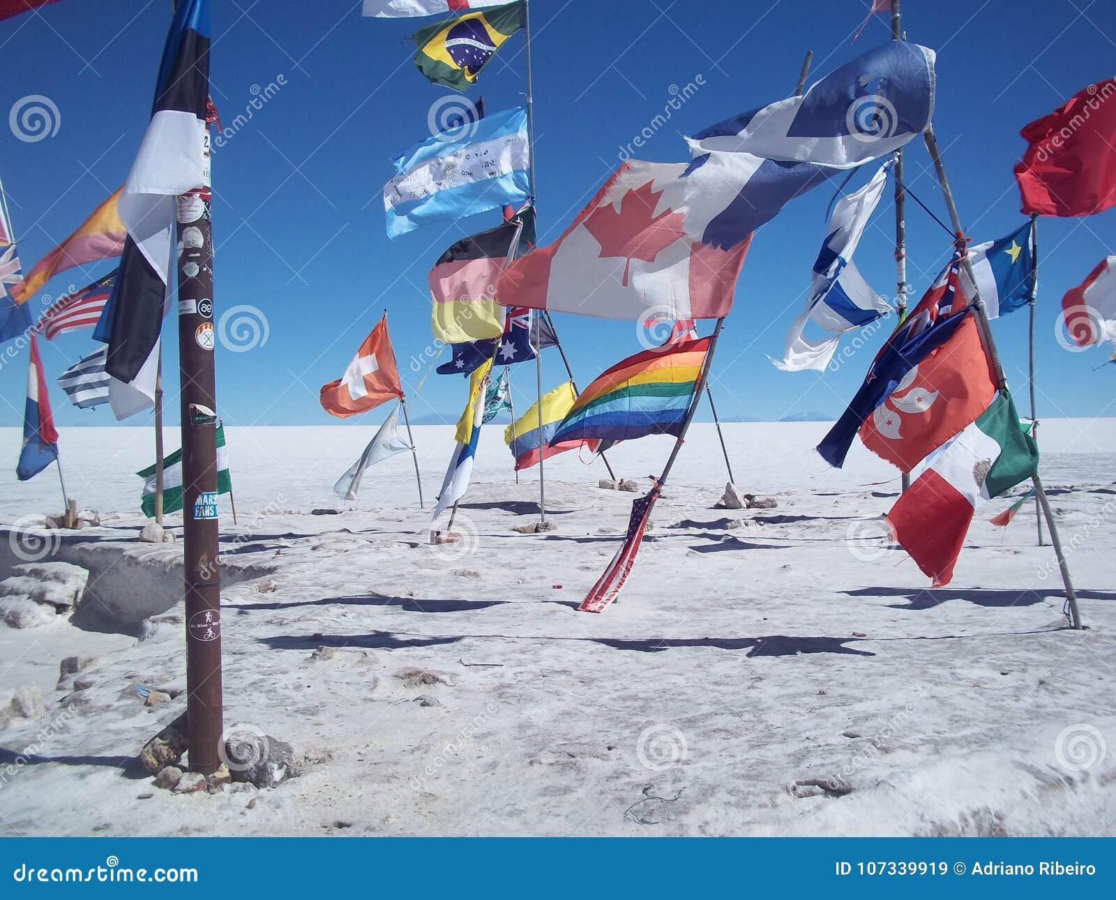 Flaga państowowa wystawiać w Uyuni soli pustyni