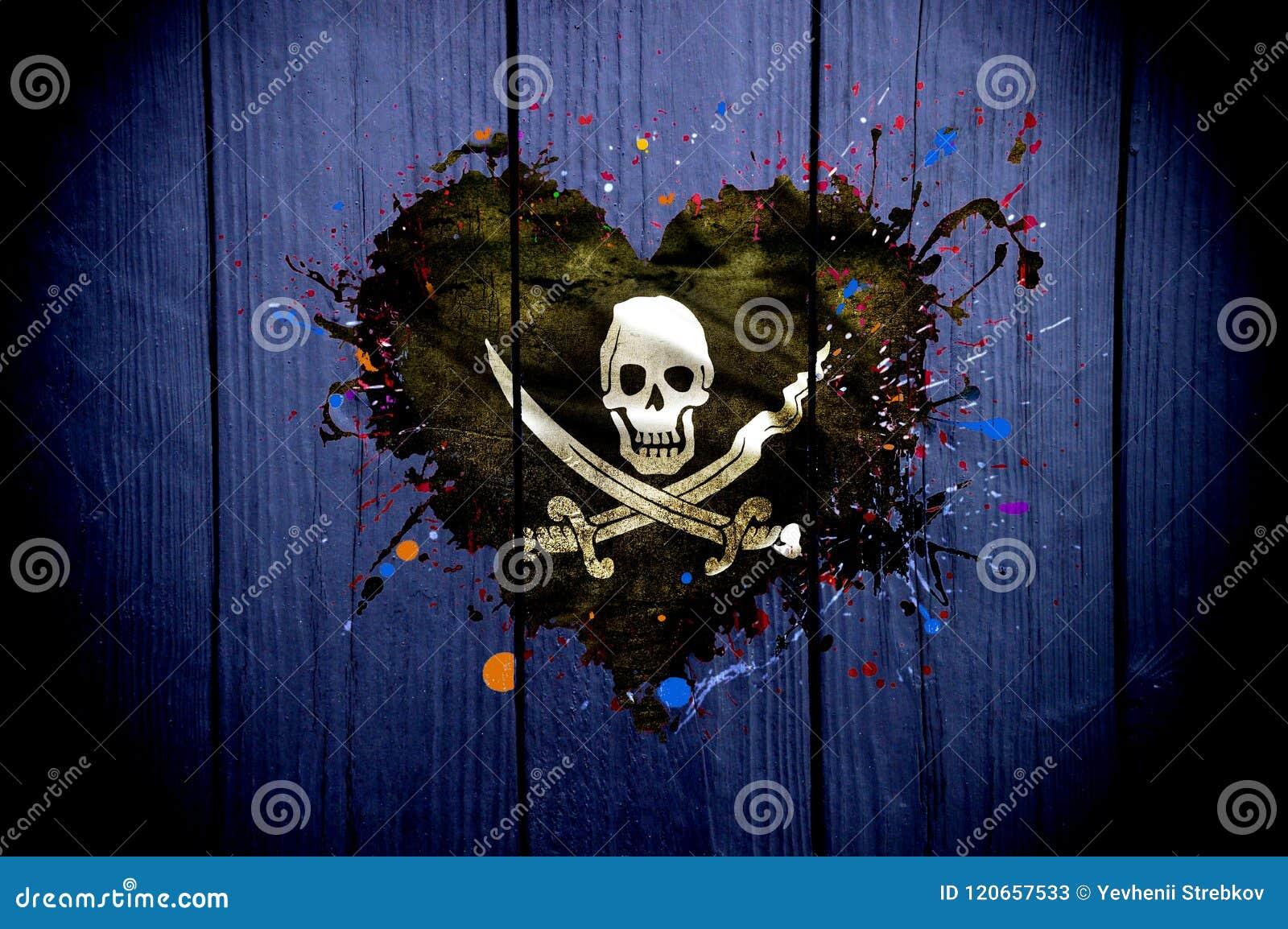 Flaga piraci w formie serca na ciemnym tle