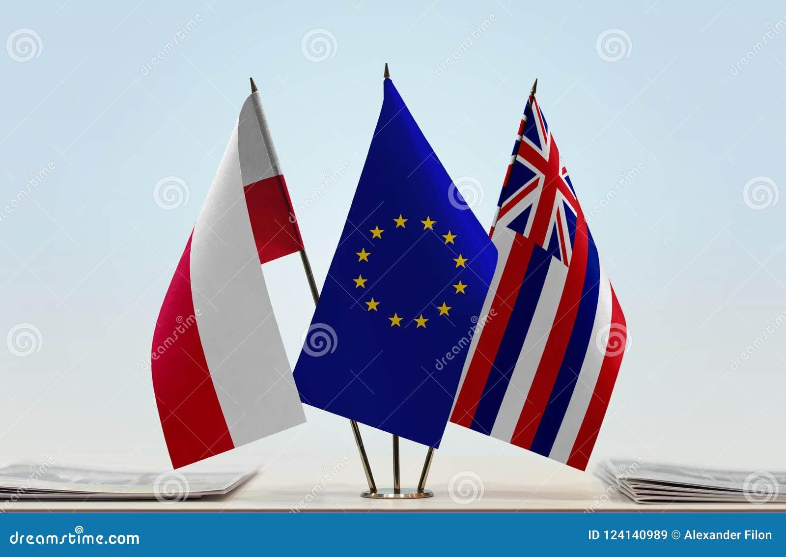 Flaga Polska UE i Hawaje