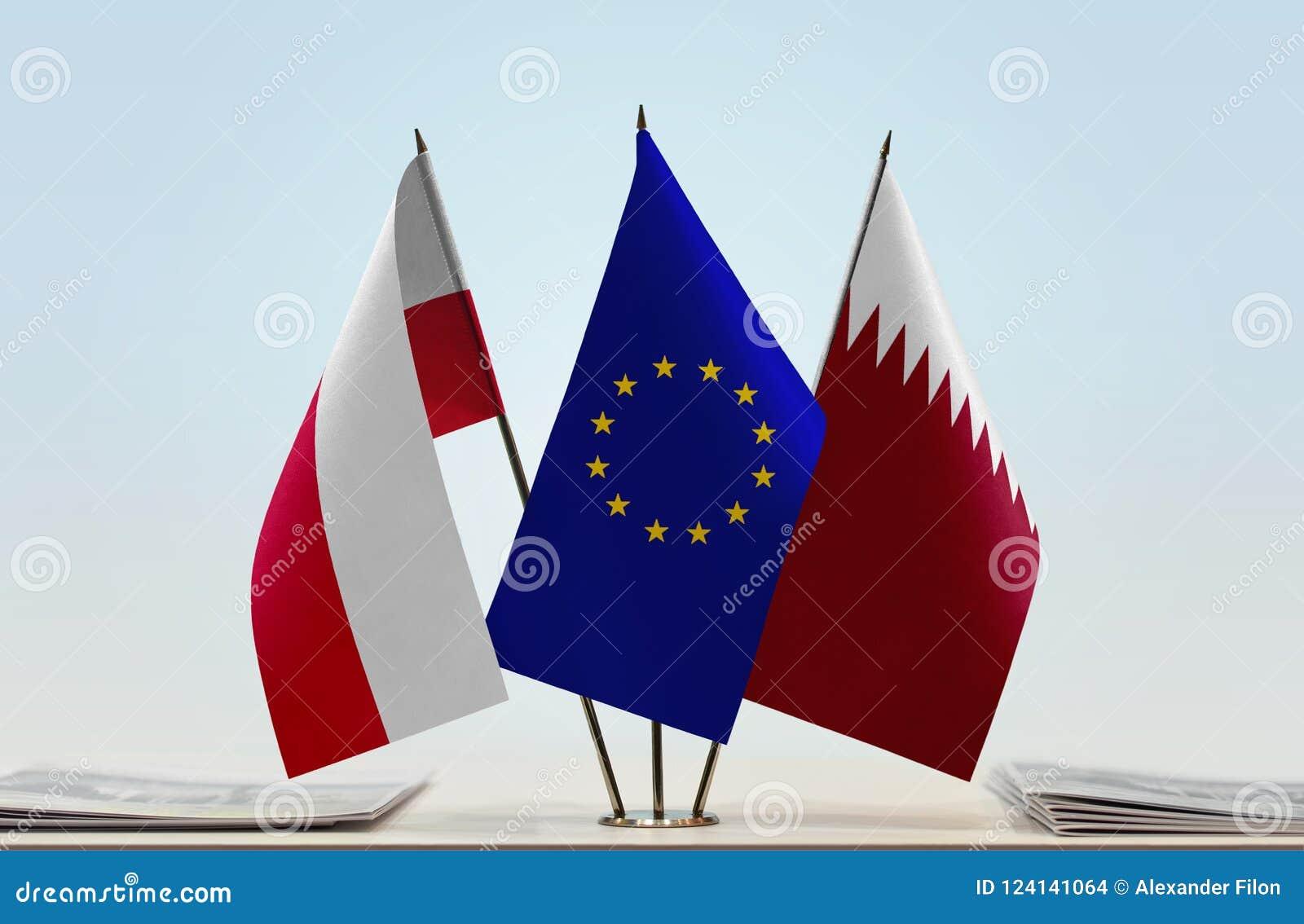 Flaga Polska UE i Katar