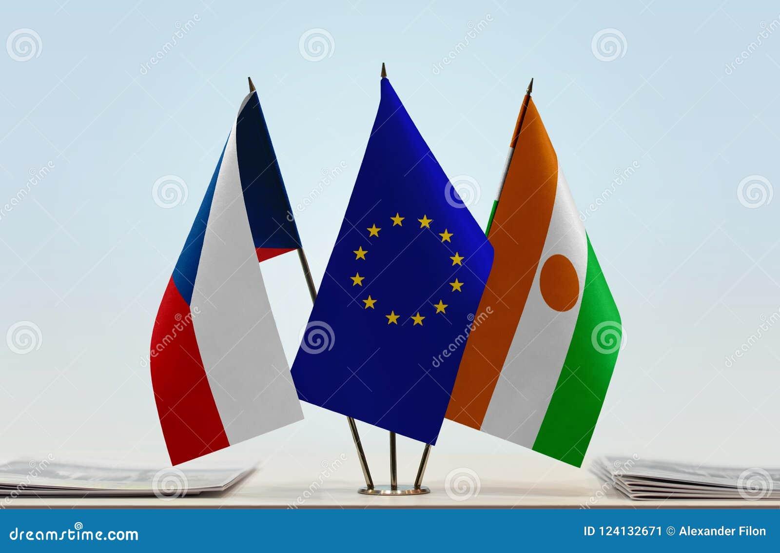 Flaga republika czech UE i Niger