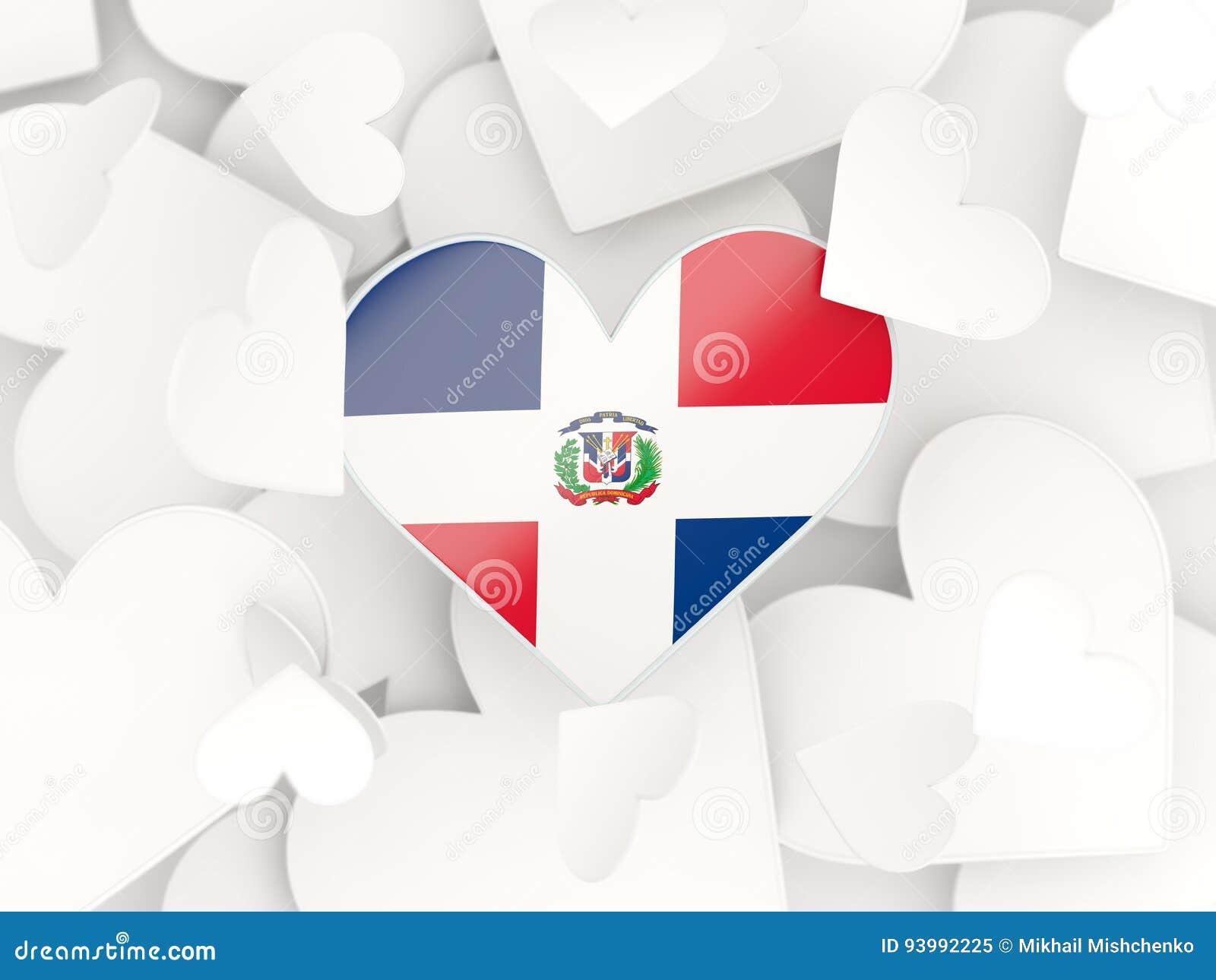 Flaga republika dominikańska, serce kształtował majcherów