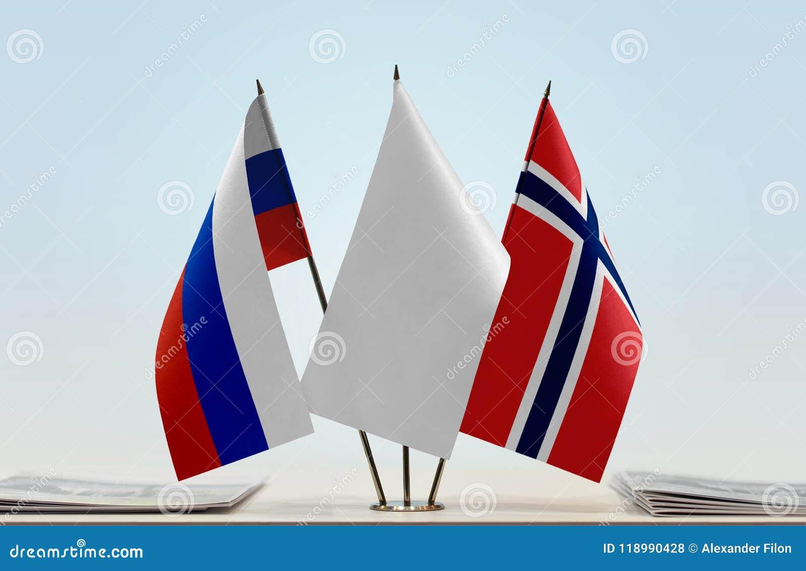 Flaga Rosja i Norwegia