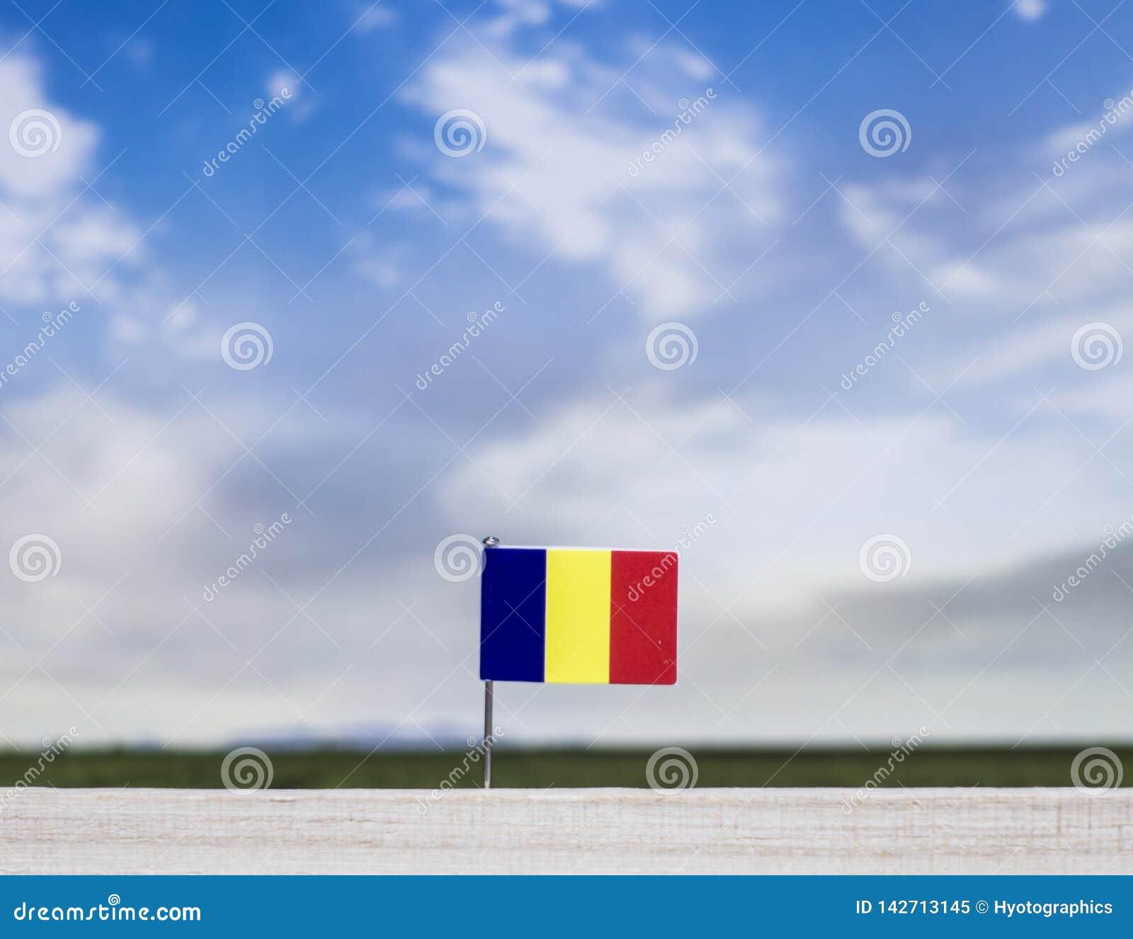 Flaga Rumunia z szeroką łąką i niebieskim niebem za nim