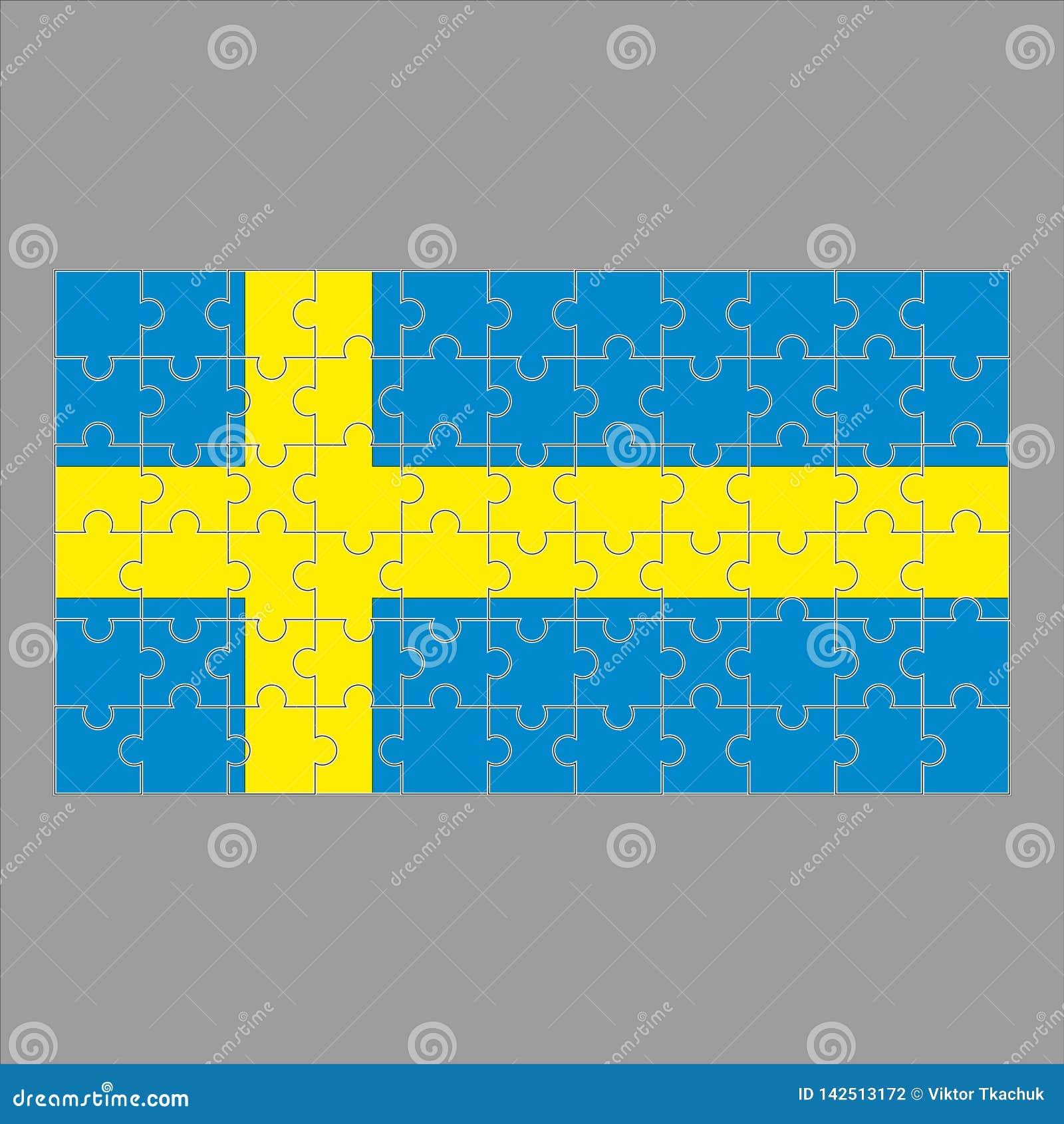Flaga Szwecja łamigłówka na szarym tle