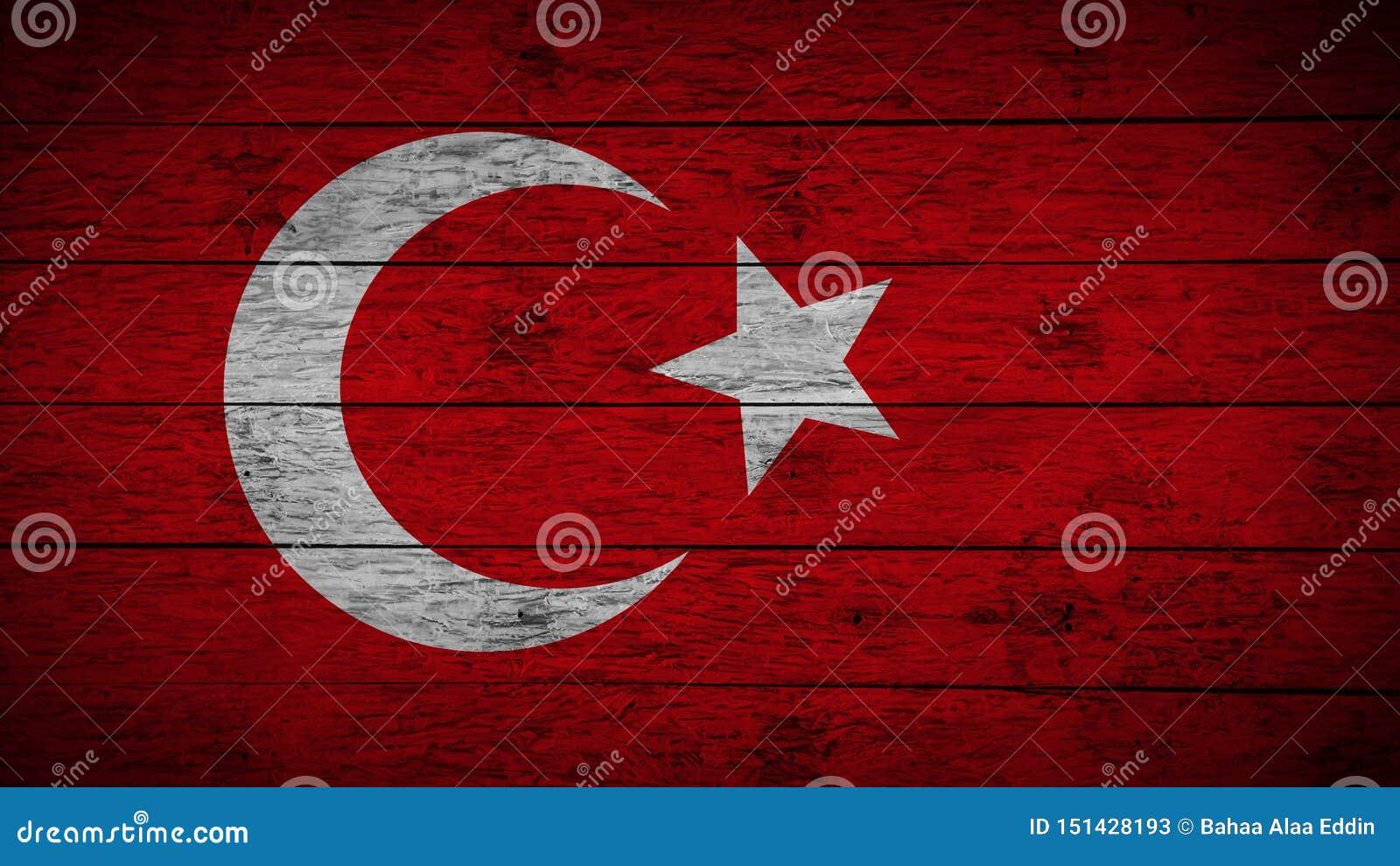 Flaga Turcja Malował na starych drewnianych deskach Drewniana indyk flaga Abstrakta chorągwiany tło grunge turecczyzny flaga