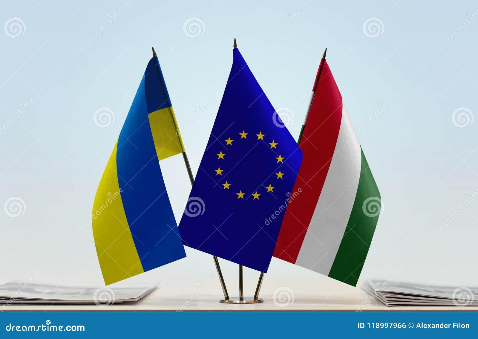 Flaga Ukraina Europejski zjednoczenie Węgry i