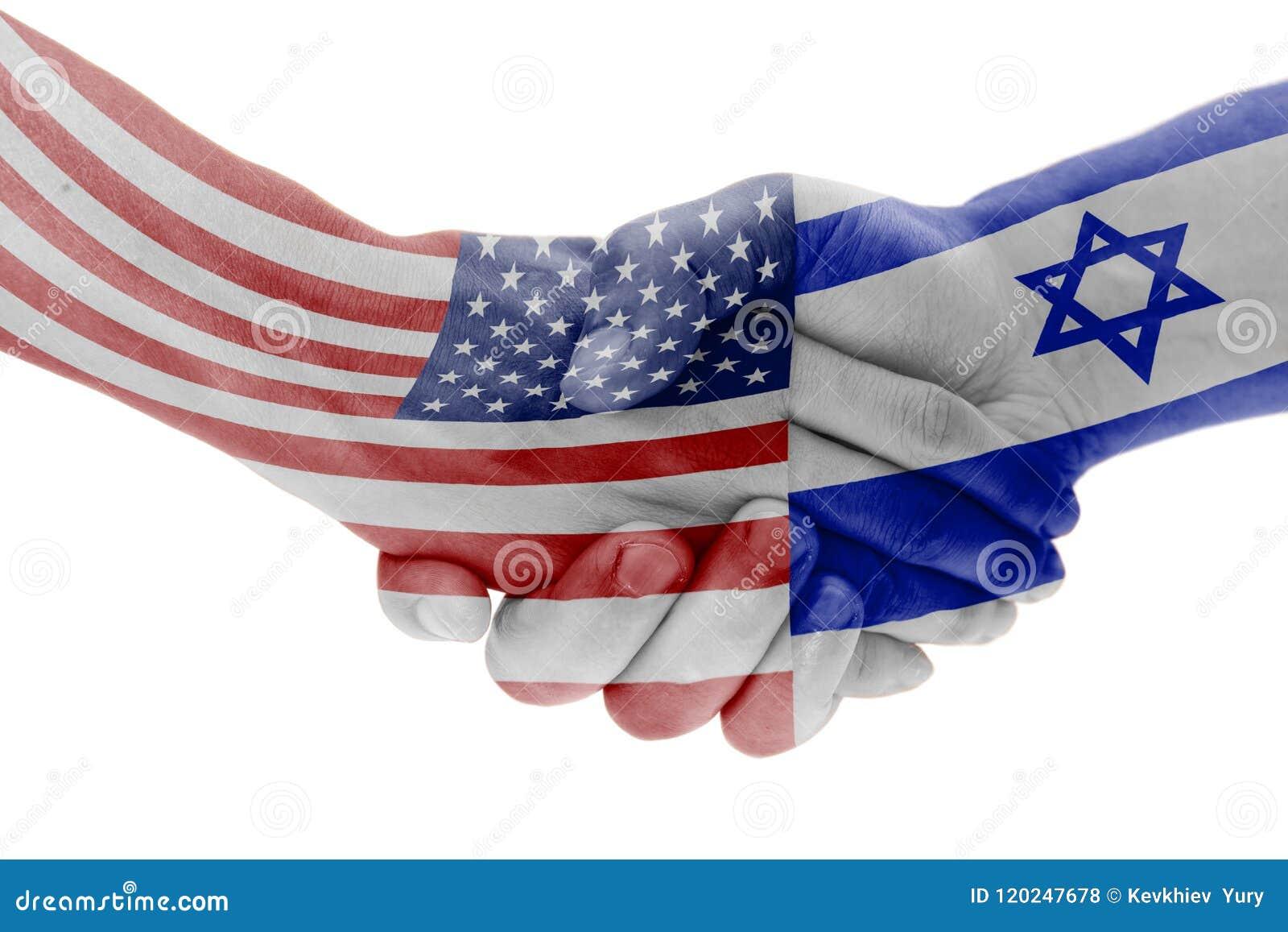 Flaga usa i Izrael kraje z uściskiem dłoni