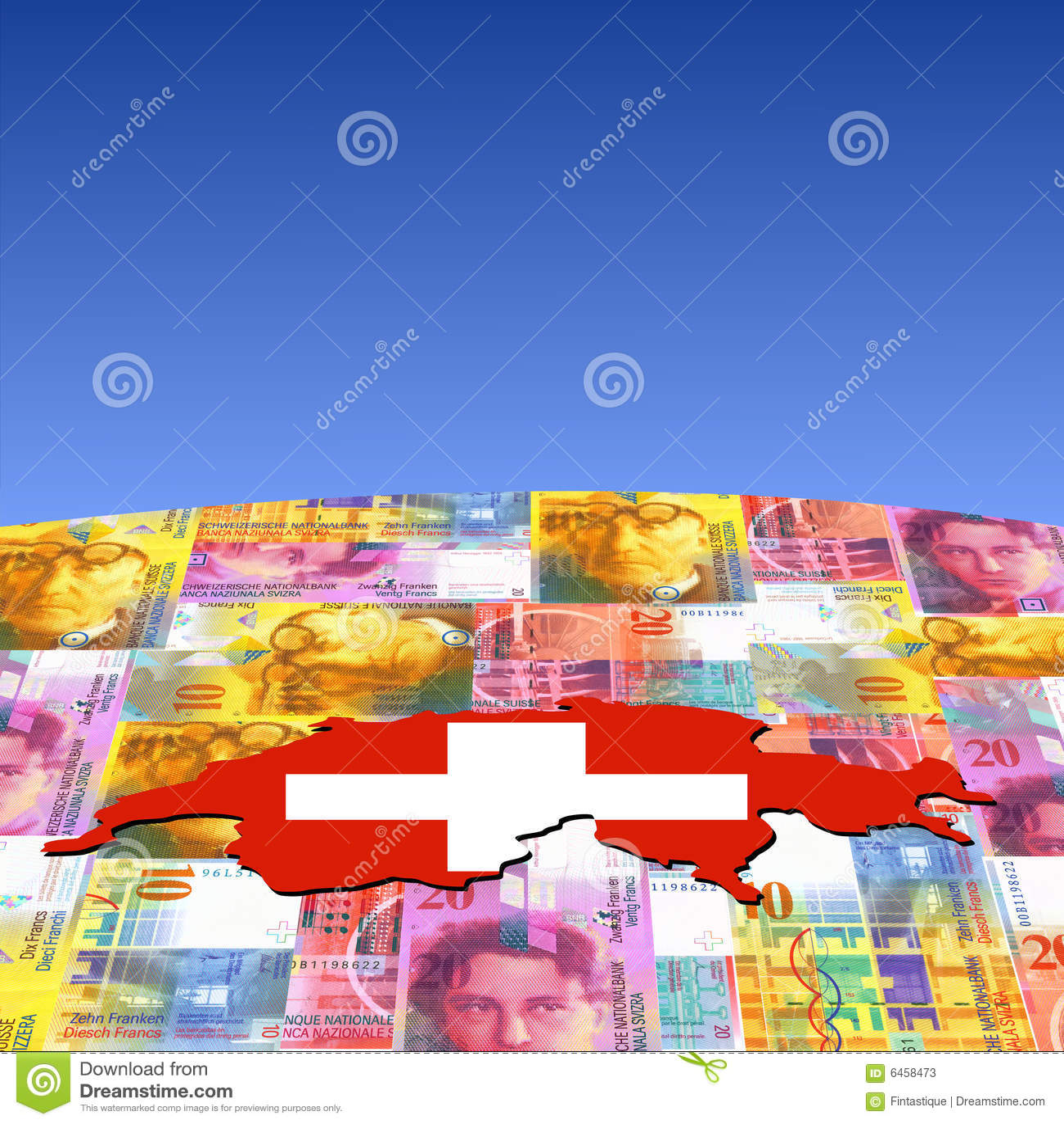 Flaga waluty mapa Szwajcarii