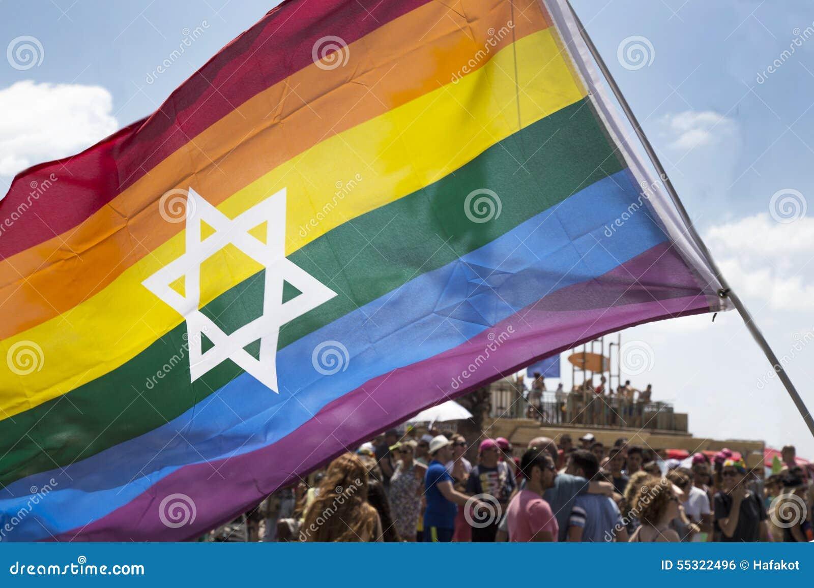 Flage гордости ТЕЛЬ-АВИВ - ИЗРАИЛЯ 12-ое июня 2015 еврейское на Тель-Авив Ga