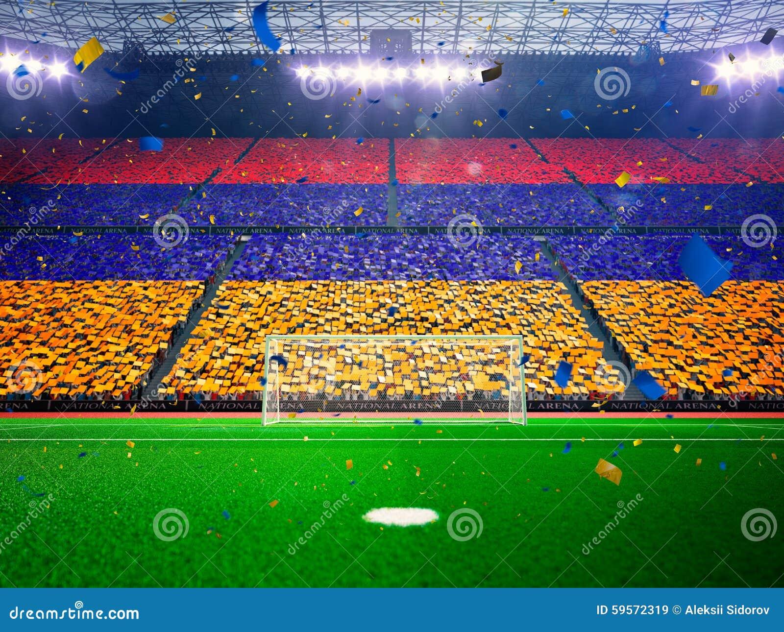 Flagga Armenien av fans Blått för aftonstadionarena