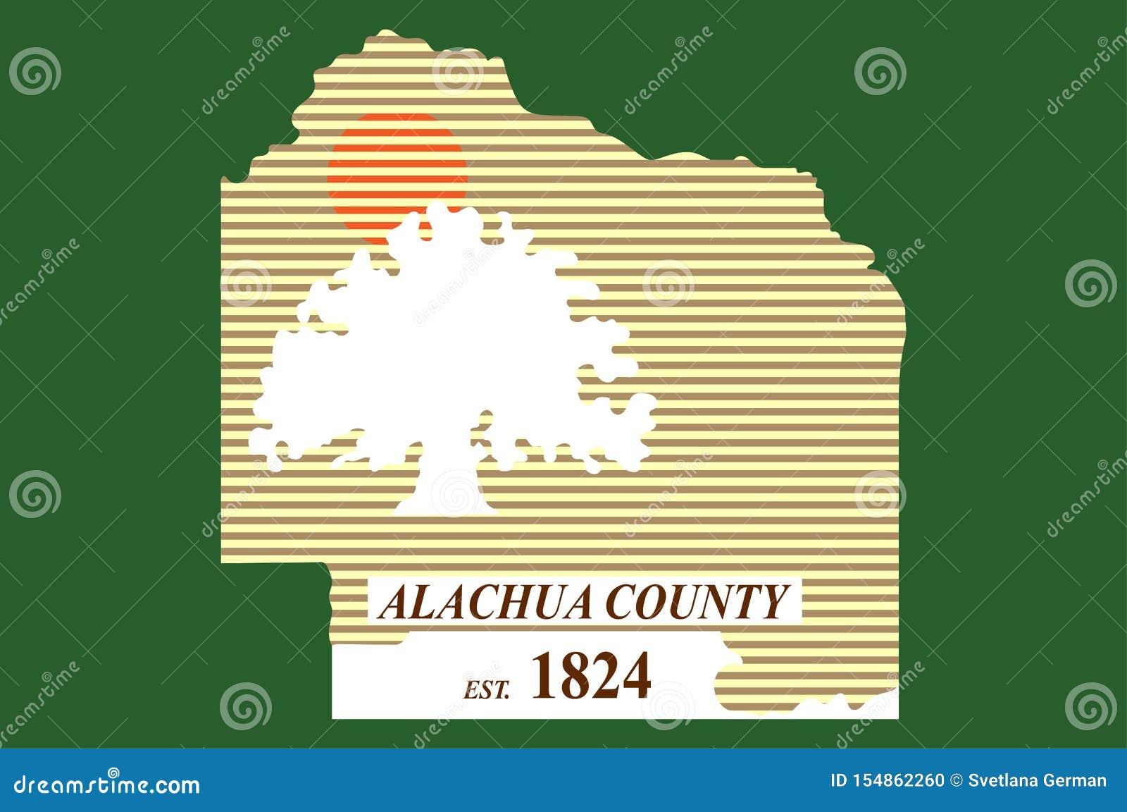 Flagga av Alachua County i Florida av USA