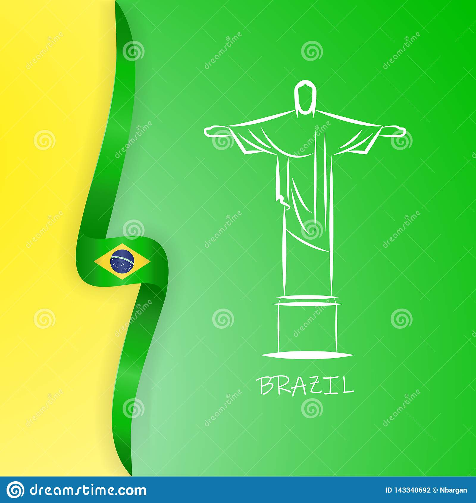 Flagga av Brasilien, Förbundsrepubliken Brasilien Staty av Kristus Förlossare, Rio de Janeiro Ljus färgrik vektor