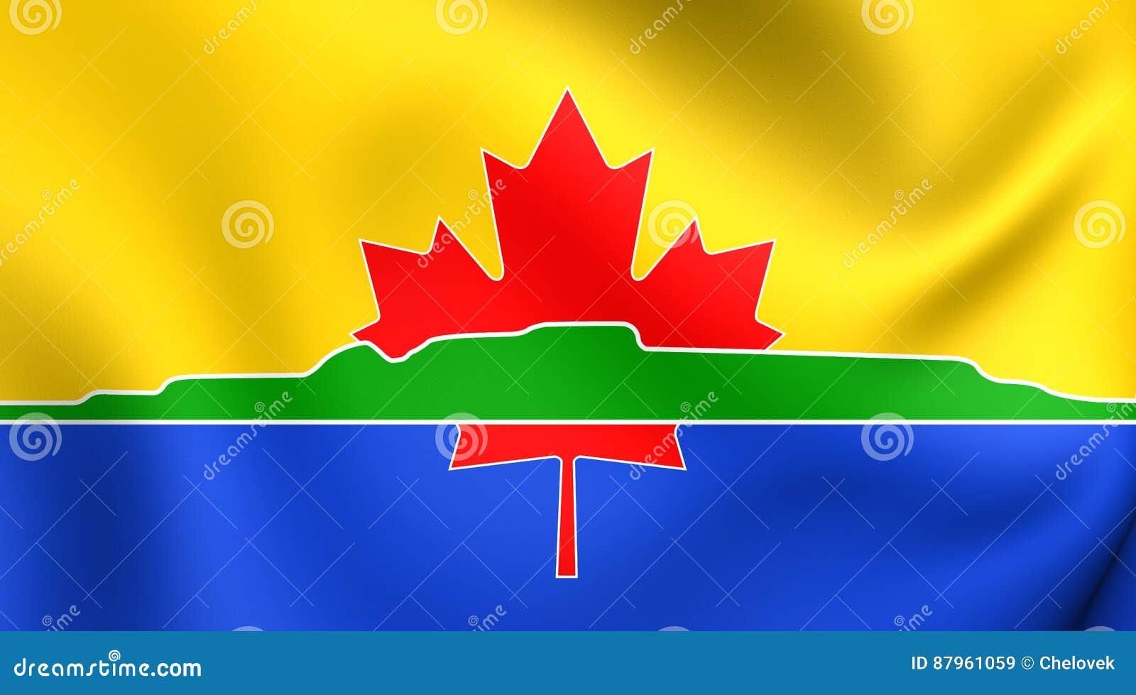 Flagga av den Thunder Bay staden, Kanada close upp