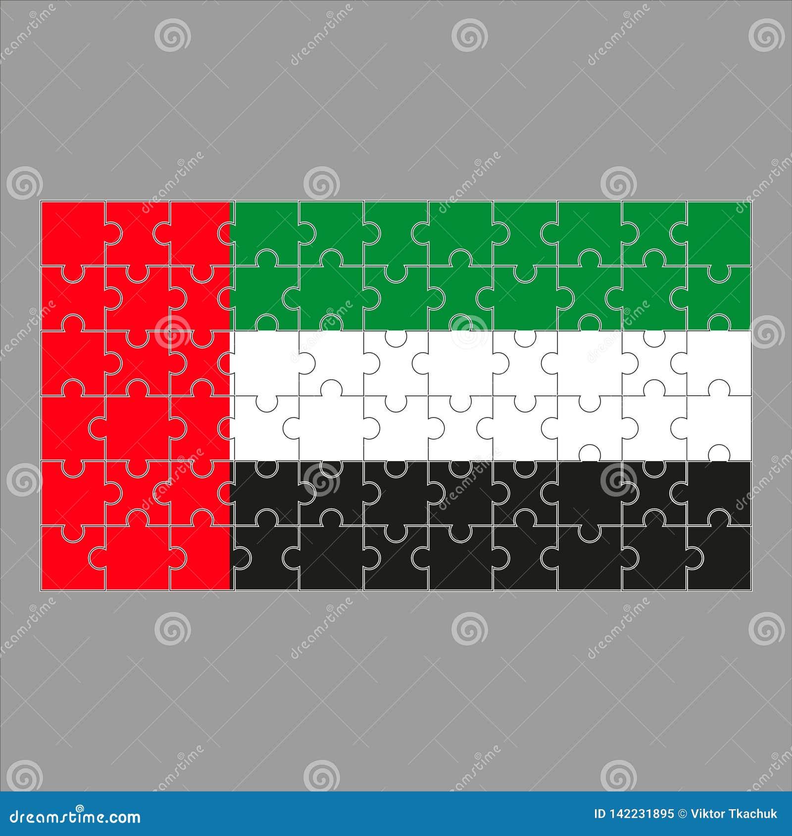 Flagga av Förenadeen Arabemiraten från pussel på en grå bakgrund
