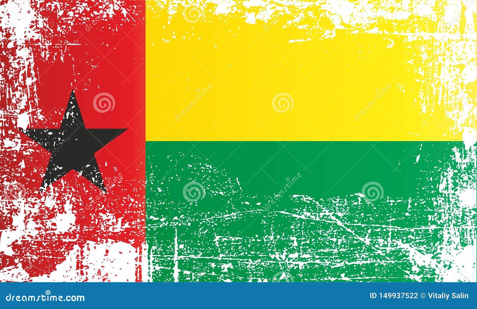 Flagga av Guinea-Bissau, Afrika Rynkiga smutsiga fläckar
