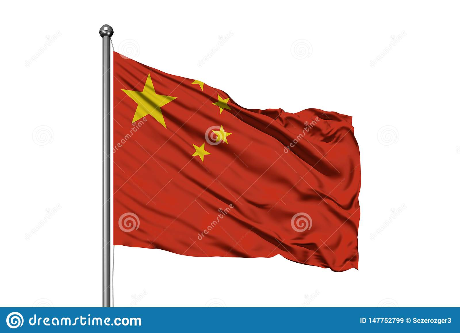 Flagga av Kina som vinkar i vinden, isolerad vit bakgrund kinesisk flagga