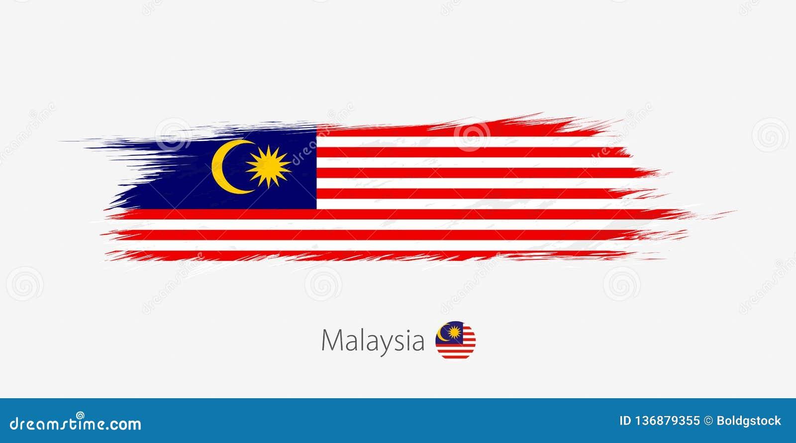 Flagga av Malaysia, abstrakt borsteslaglängd för grunge på grå bakgrund