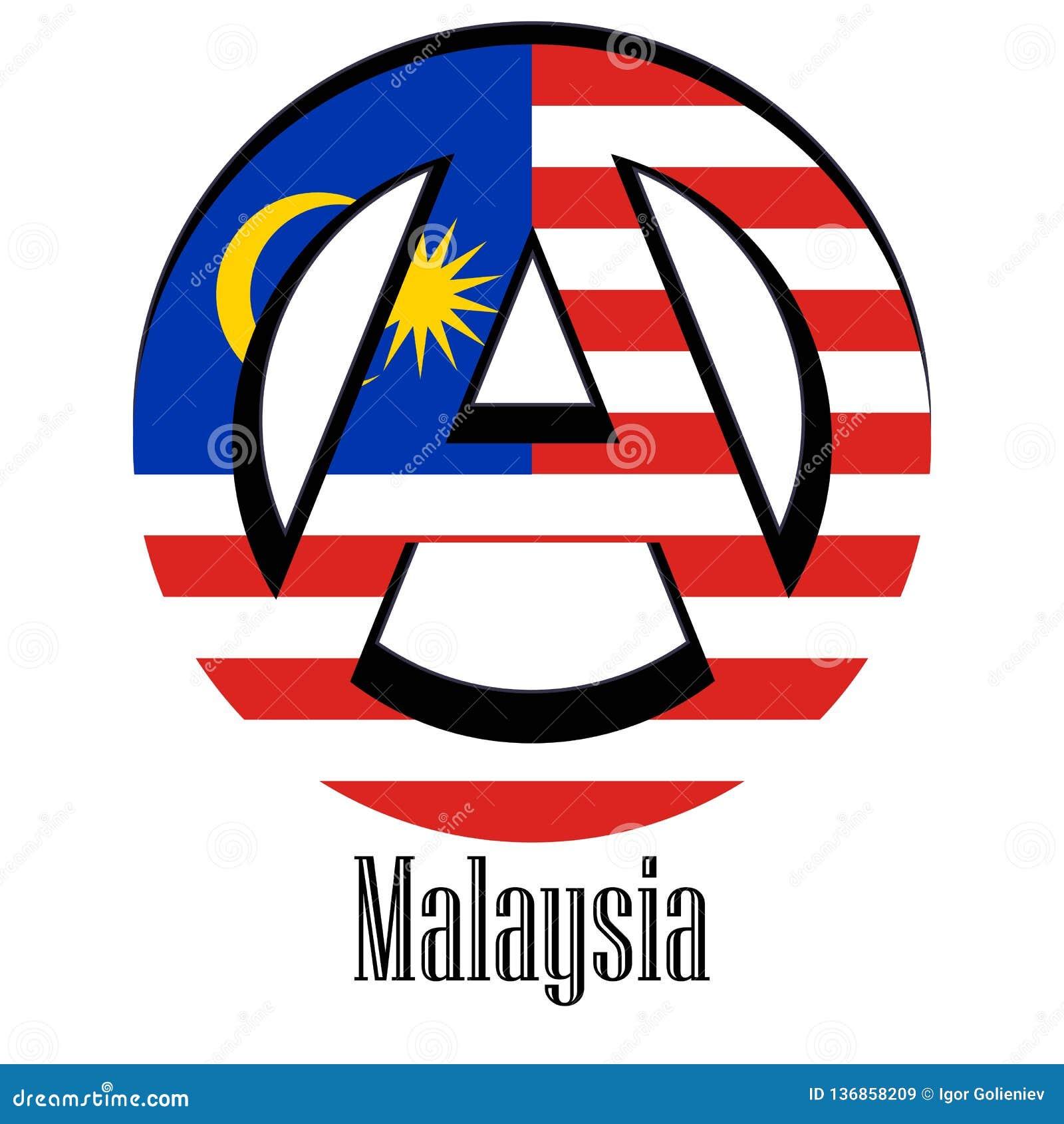 Flagga av Malaysia av världen i form av ett tecken av anarki