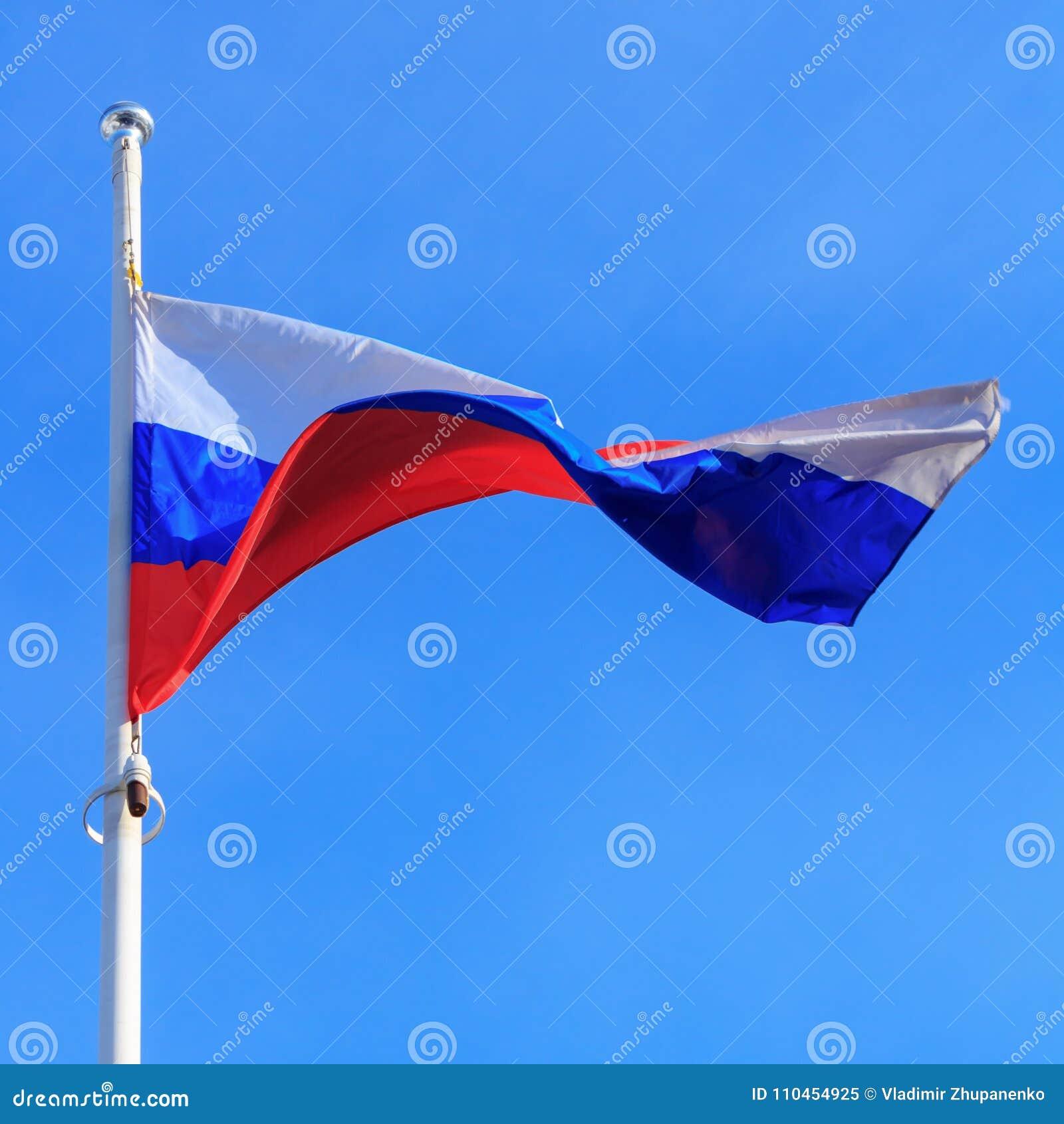 Flagga av rysk federation på bakgrunden för blå himmel flags den blåa flaggan för bakgrund våg för den ramguldrussia vektorn