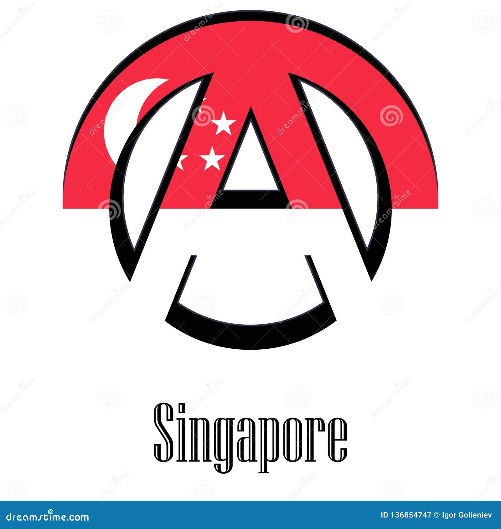 Flagga av Singapore av världen i form av ett tecken av anarki