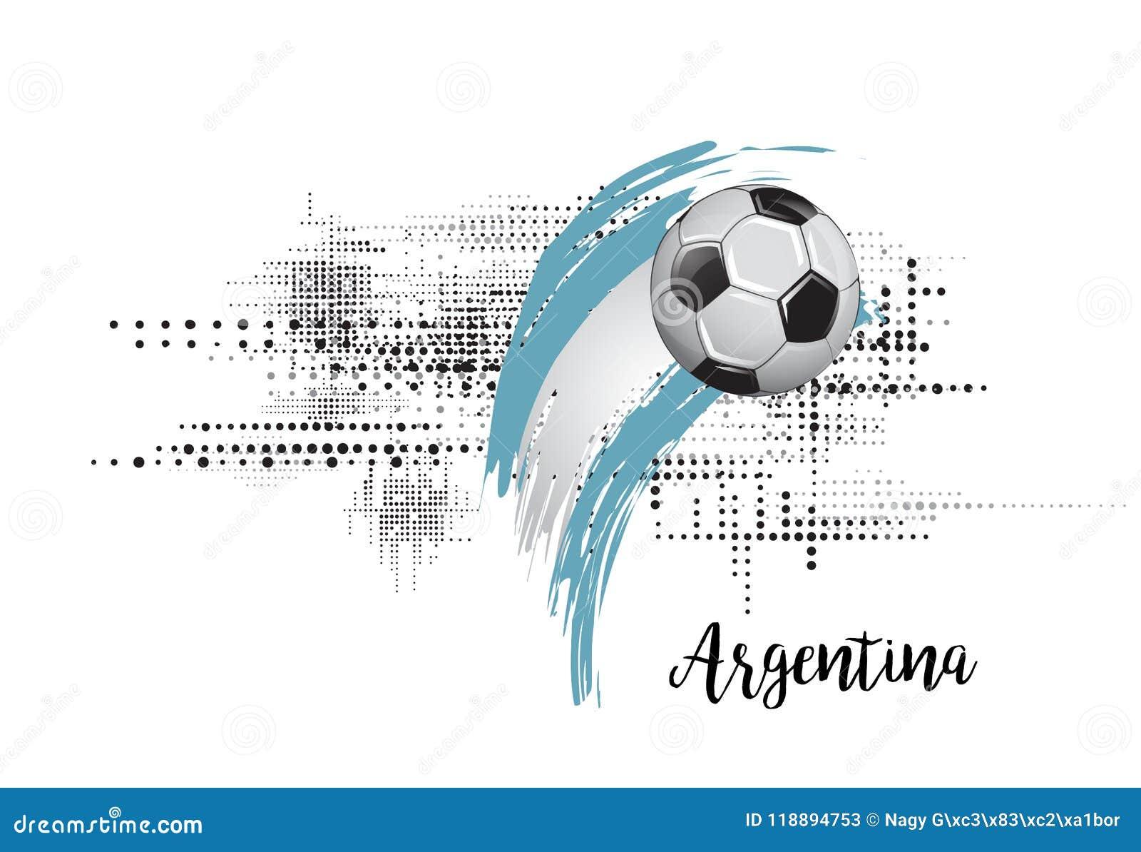 FLAGGA FÖR ARGENTINA FOTBOLLNATION FOTBOLLSLAGMALLILLUSTRATION MÅLAD KONST- OCH PRICKGRUNGEBAKGRUND