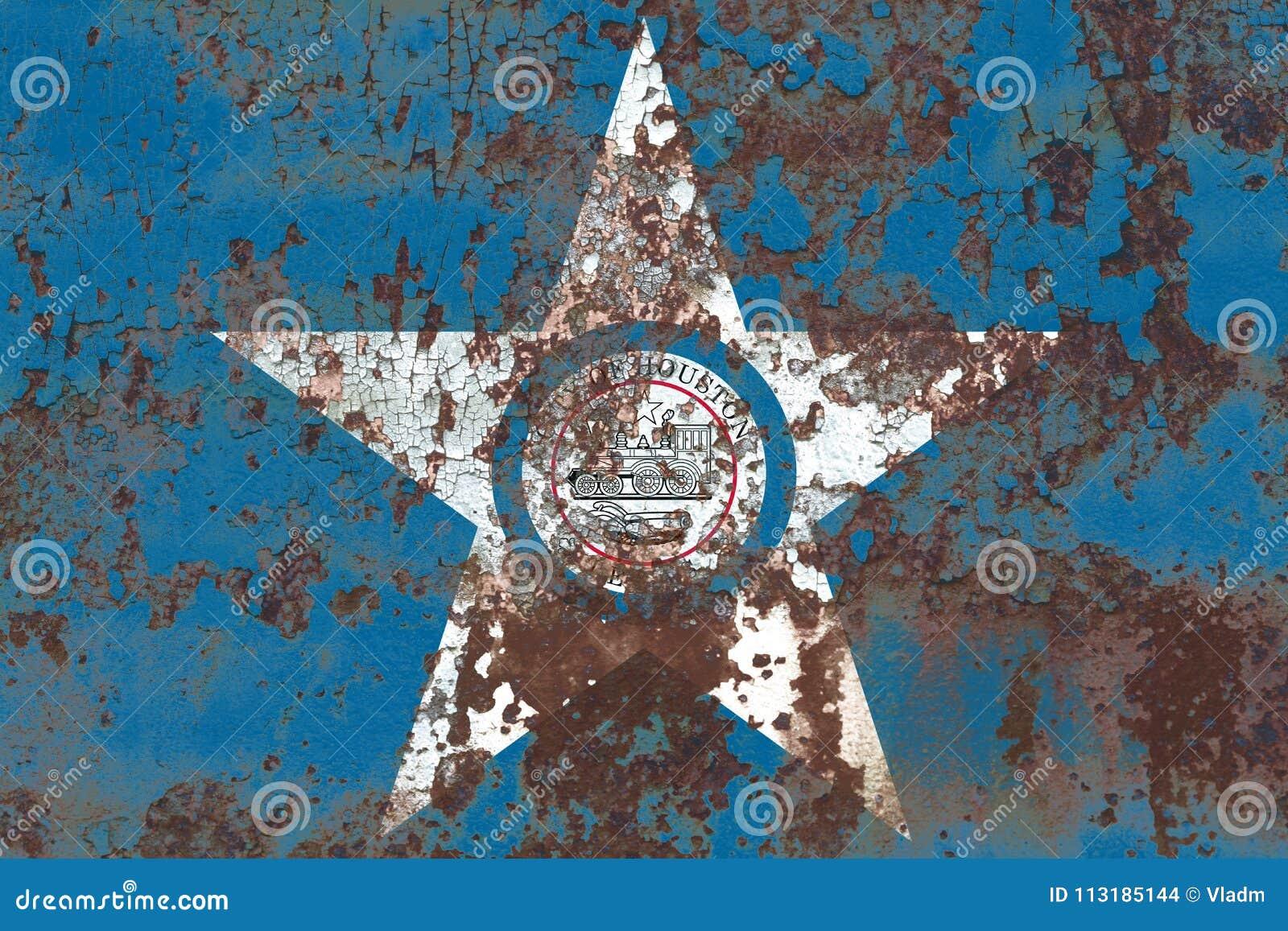 Flagga för Houston stadsrök, Texas State, Amerikas förenta stater