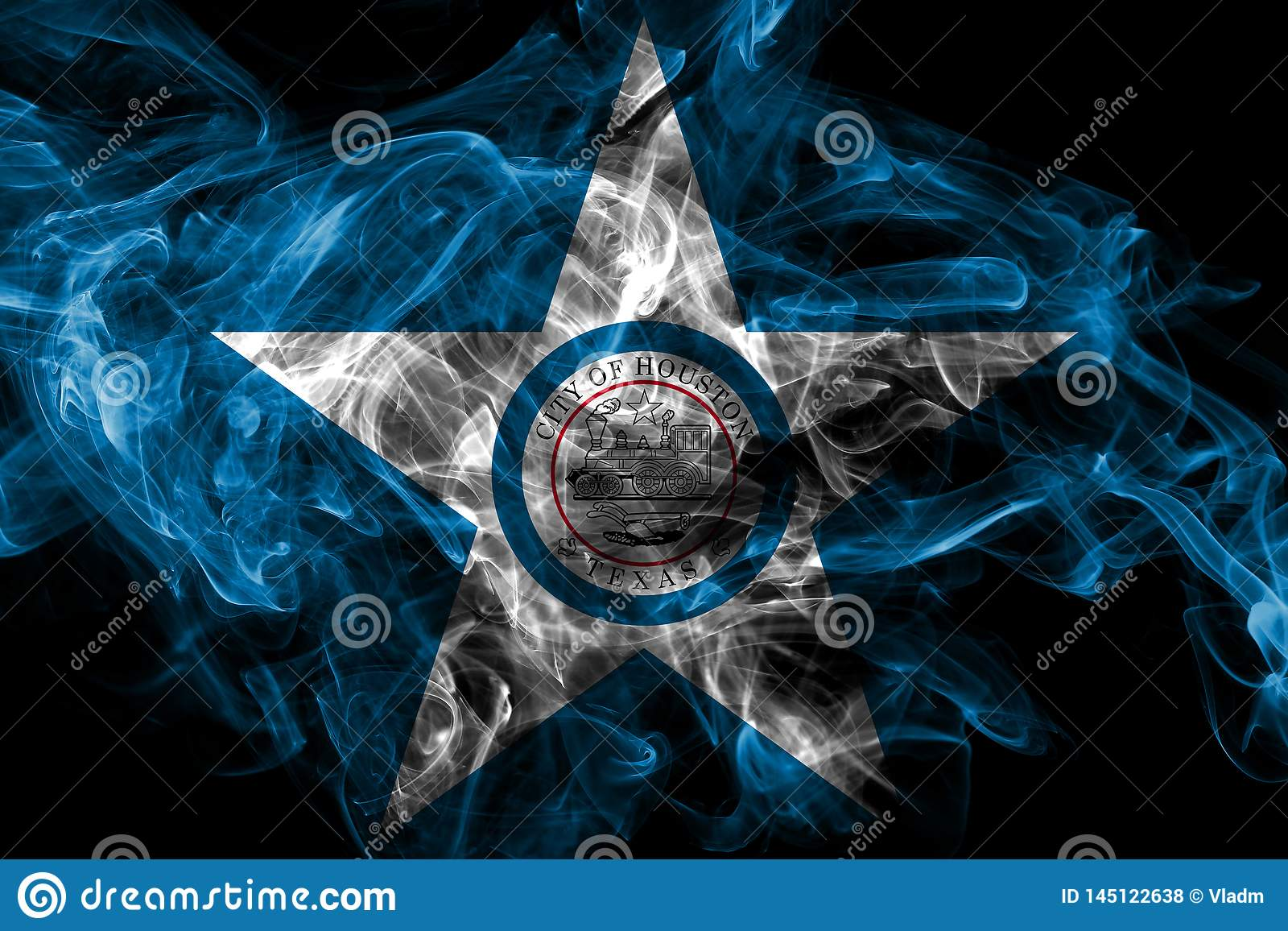 Flagga f?r Houston stadsr?k, Texas State, Amerikas f?renta stater