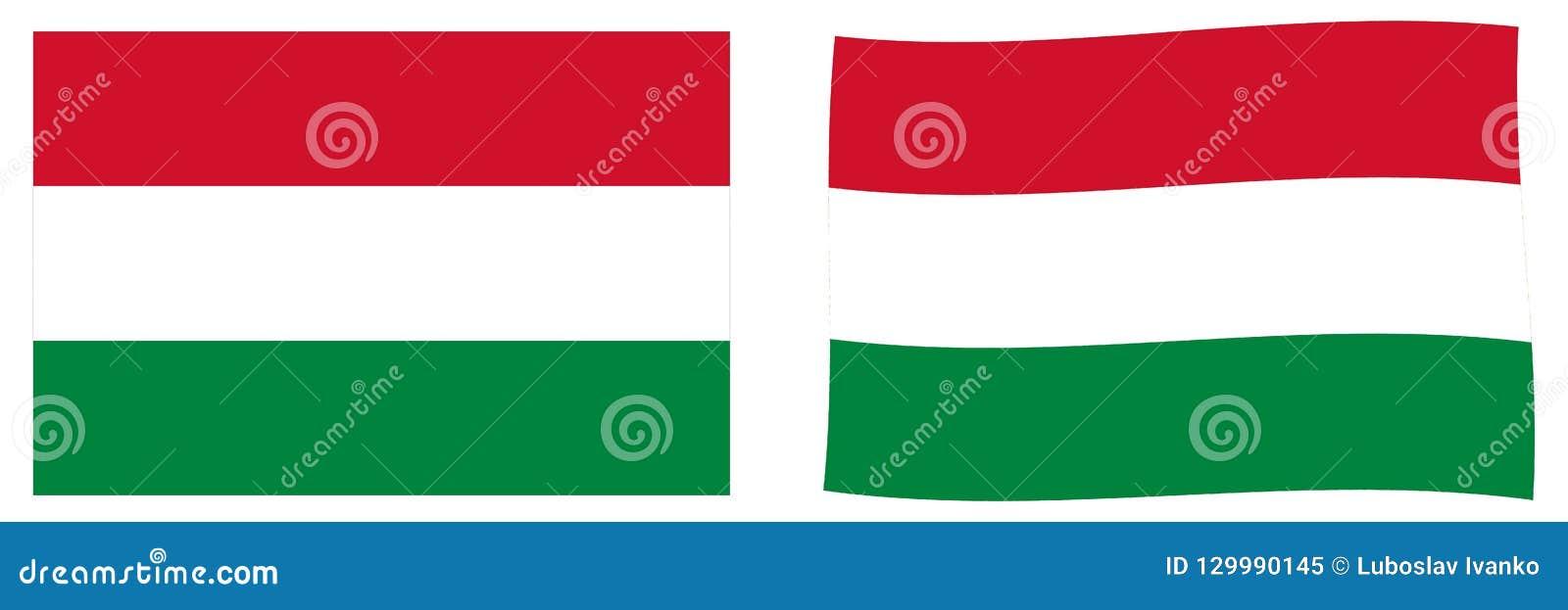 Flagga hungary Enkel och vinkande litet version