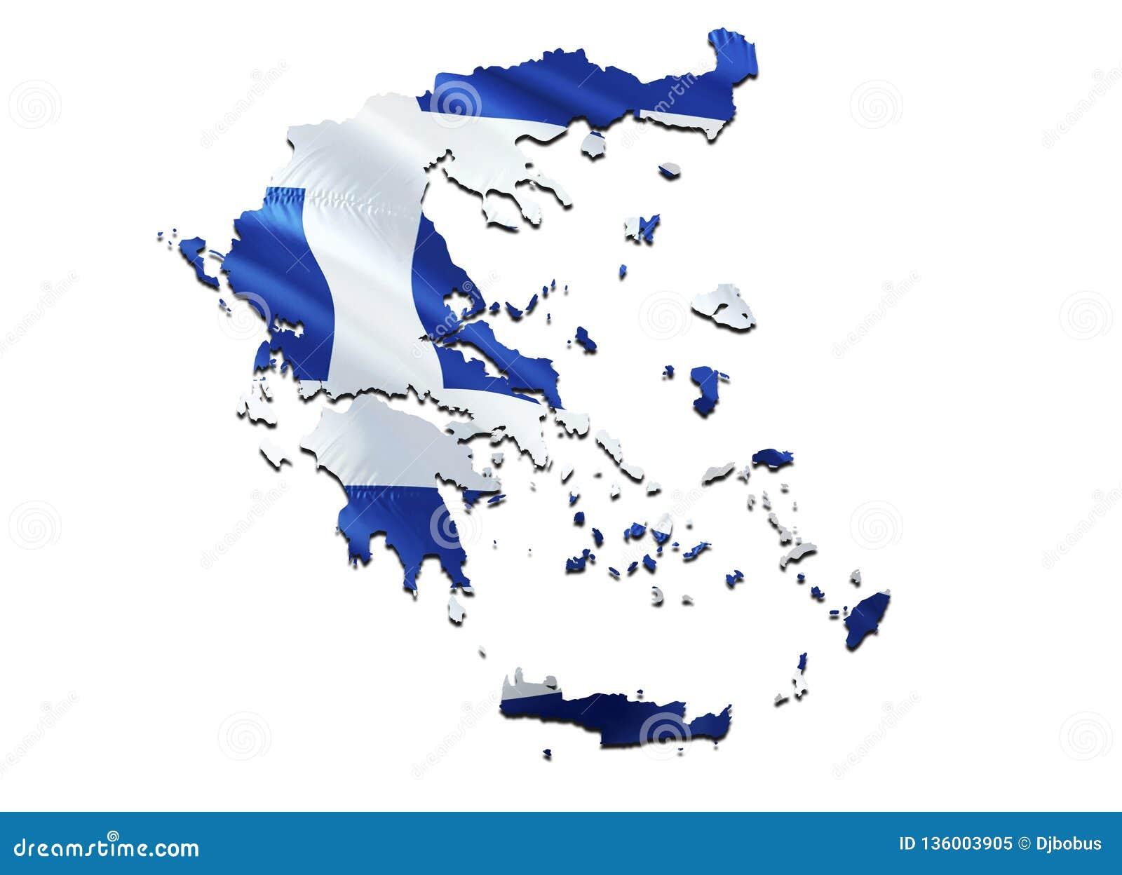 Flaggagreece översikt 3D som framför den Grekland översikten och flaggan Det nationella symbolet av Grekland Nationellt vinkande