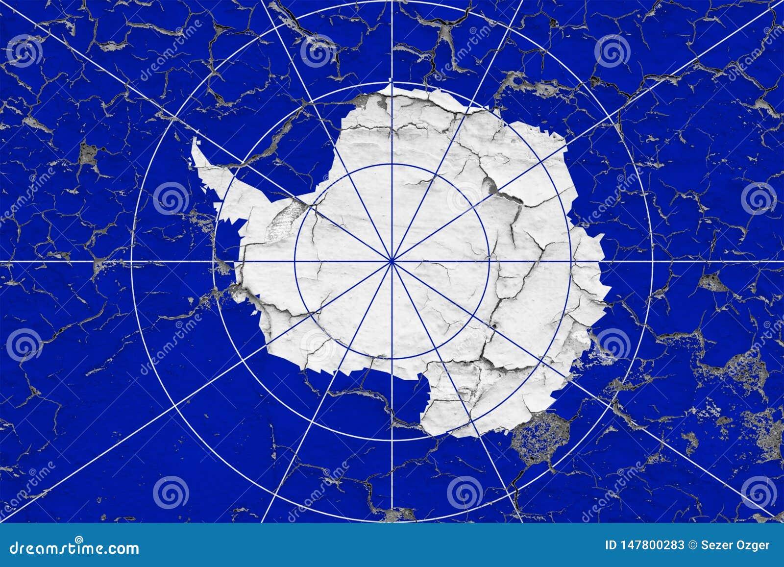 Flaggan av Antarktis målade på den spruckna smutsiga väggen Nationell modell p? tappningstilyttersida