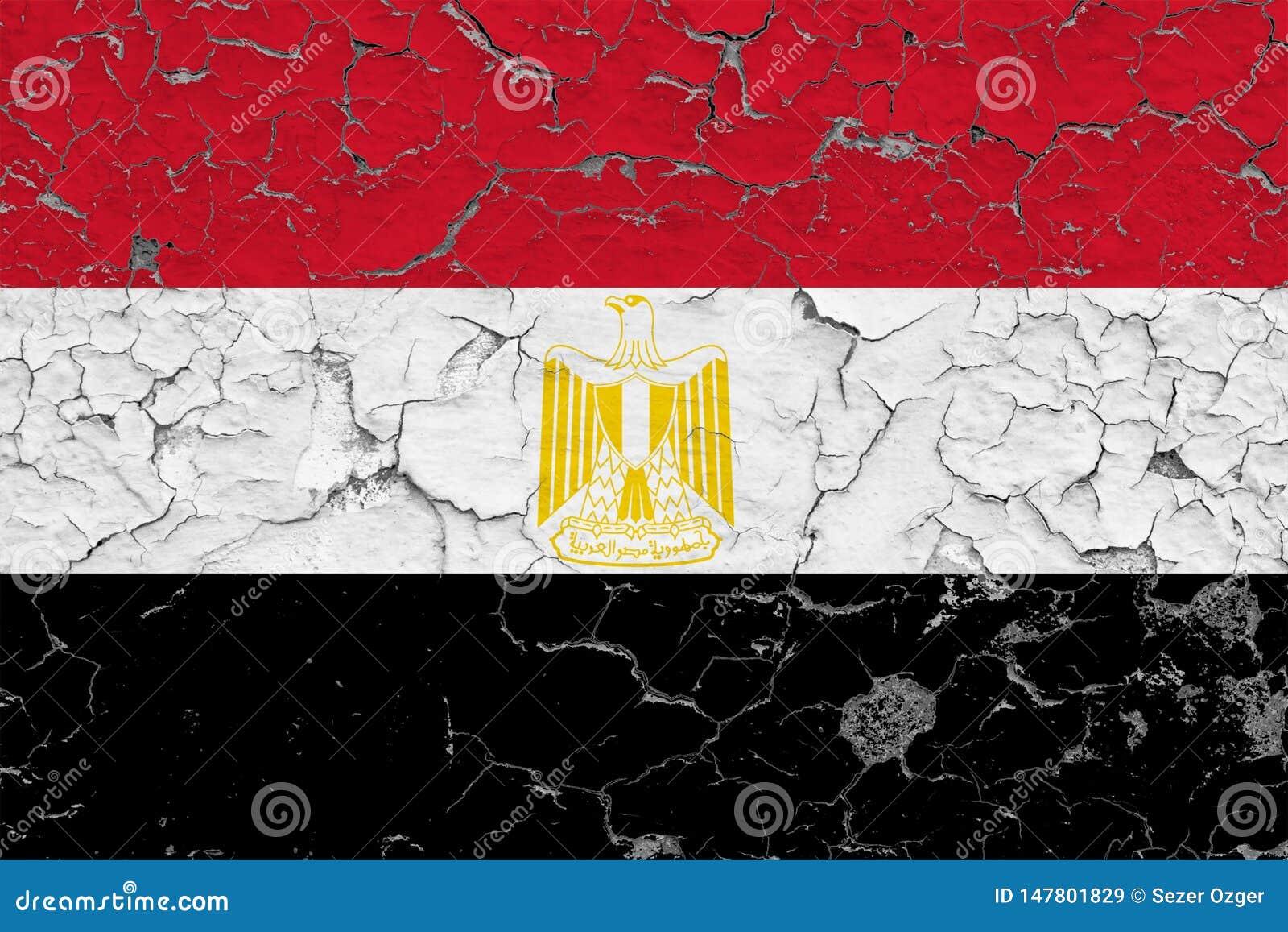 Flaggan av Egypten målade på den spruckna smutsiga väggen Nationell modell p? tappningstilyttersida