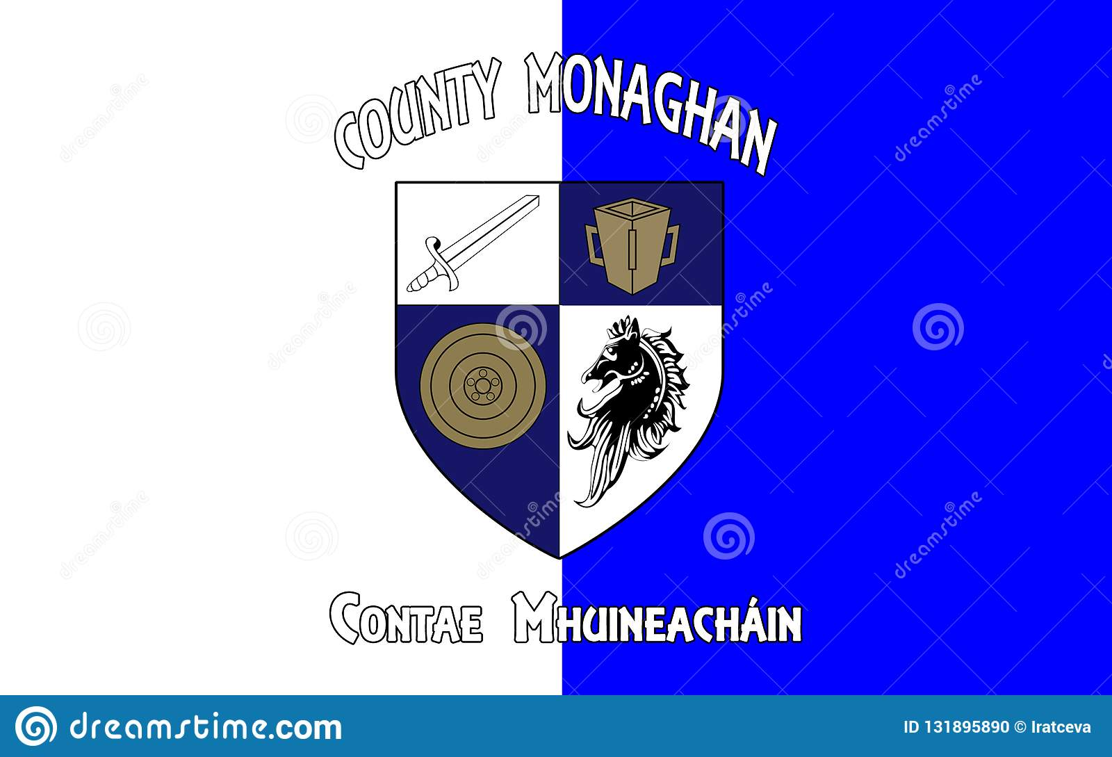 Flaggan av ståndsmässiga Monaghan är ett län i Irland