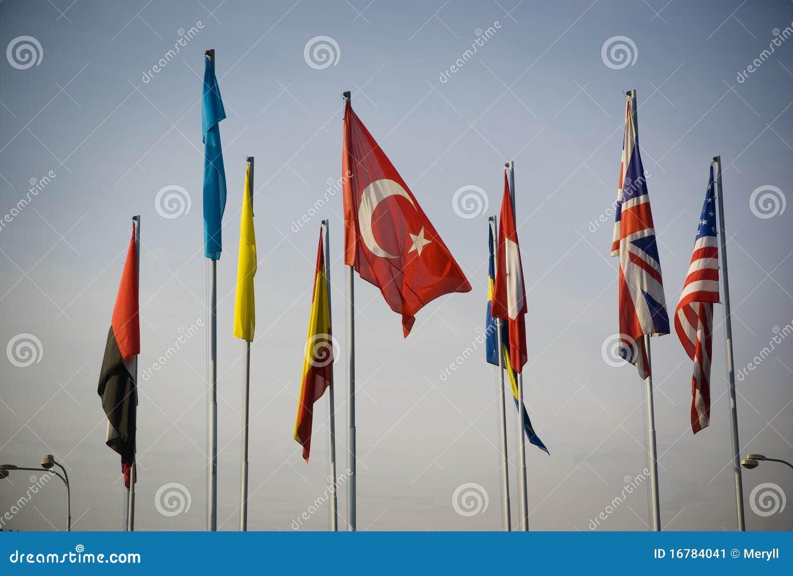 Flaggan flags den internationella kalkonen